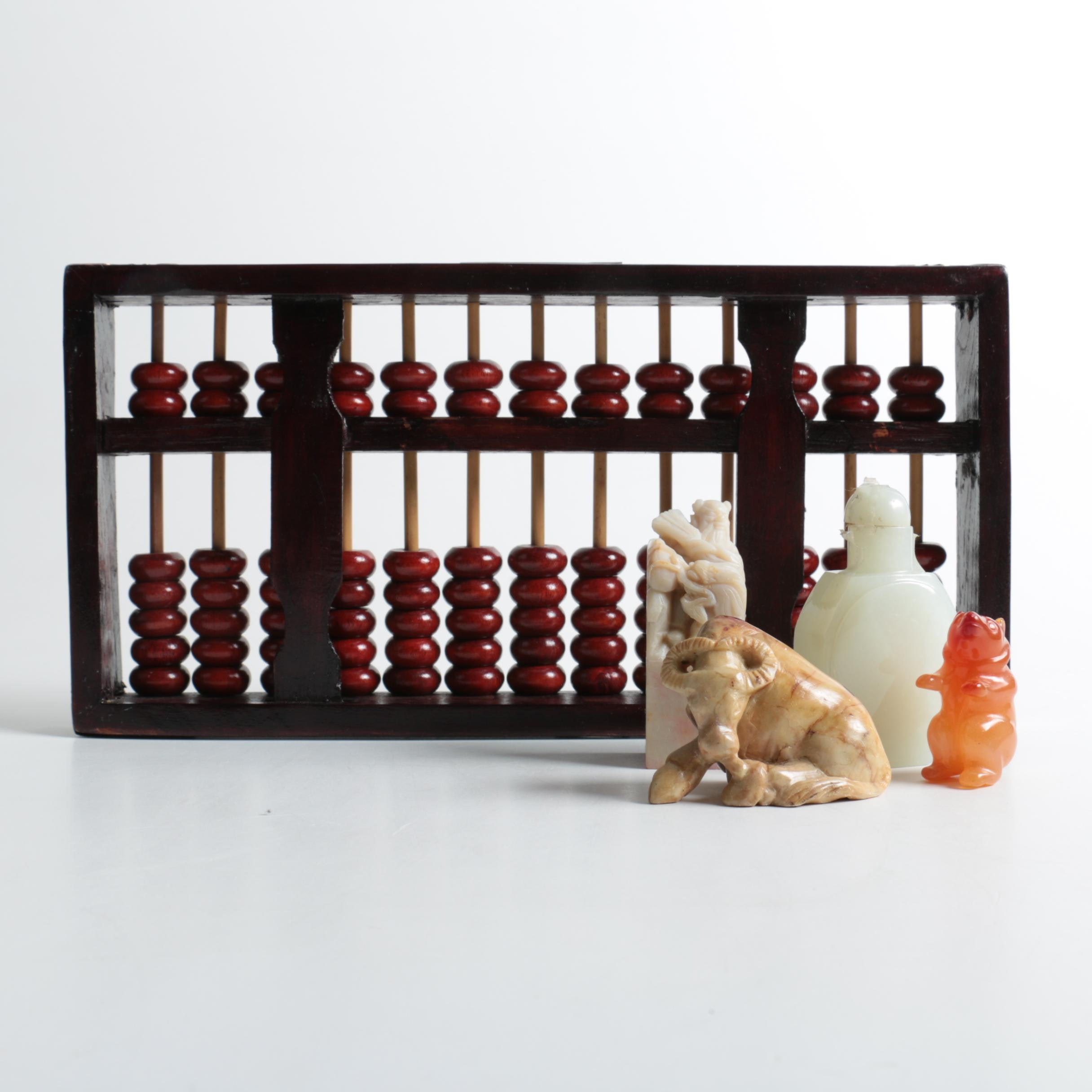 Chinese Abacus with Carnelian, Soapstone and Quartz Figurines