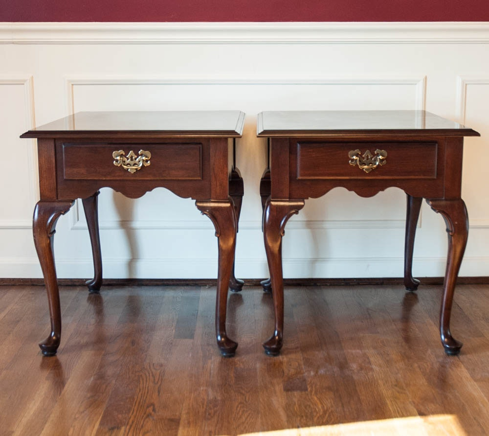Pair of Queen Anne Style End Tables by Leugers