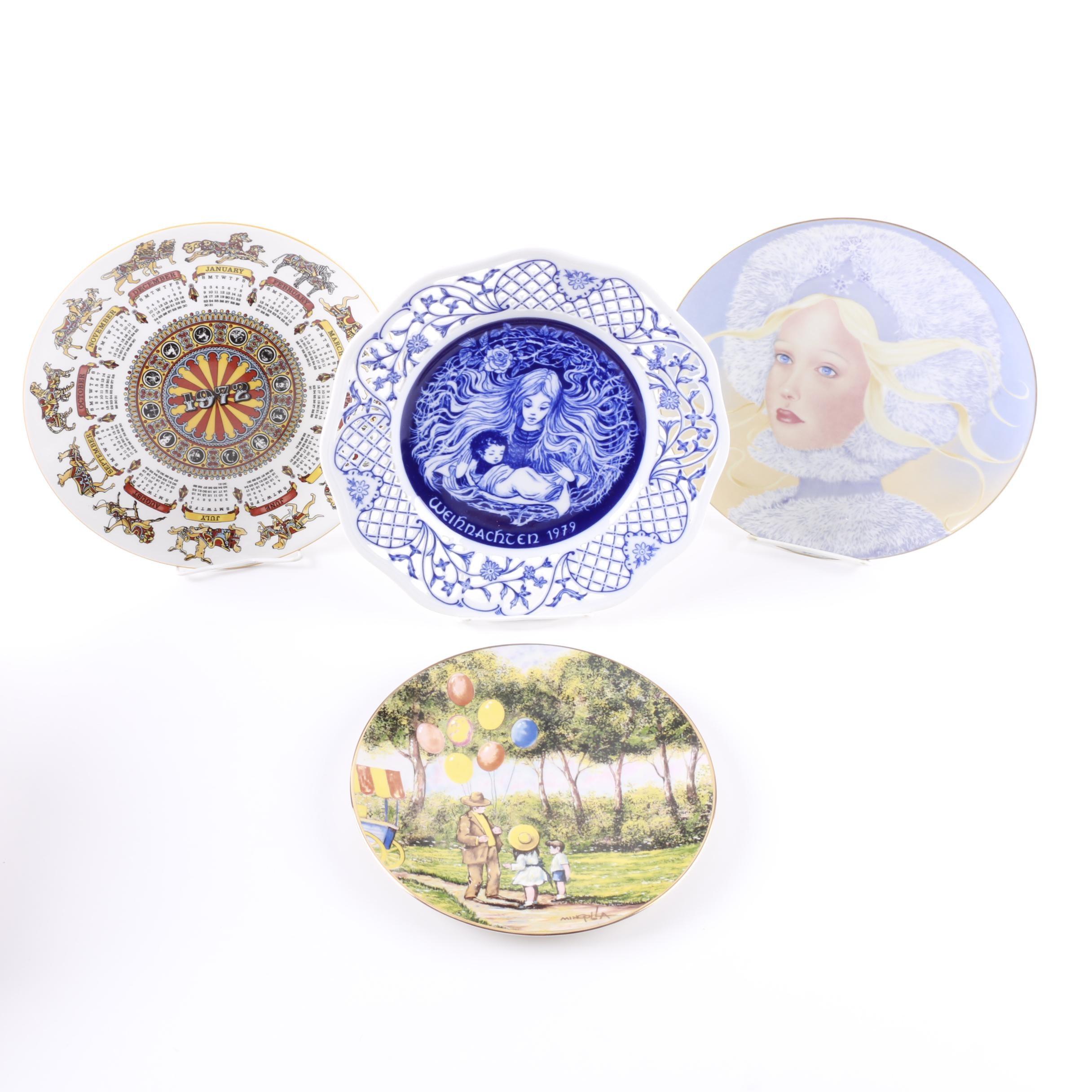 Vintage Decorative Porcelain Plates Including Wedgwood