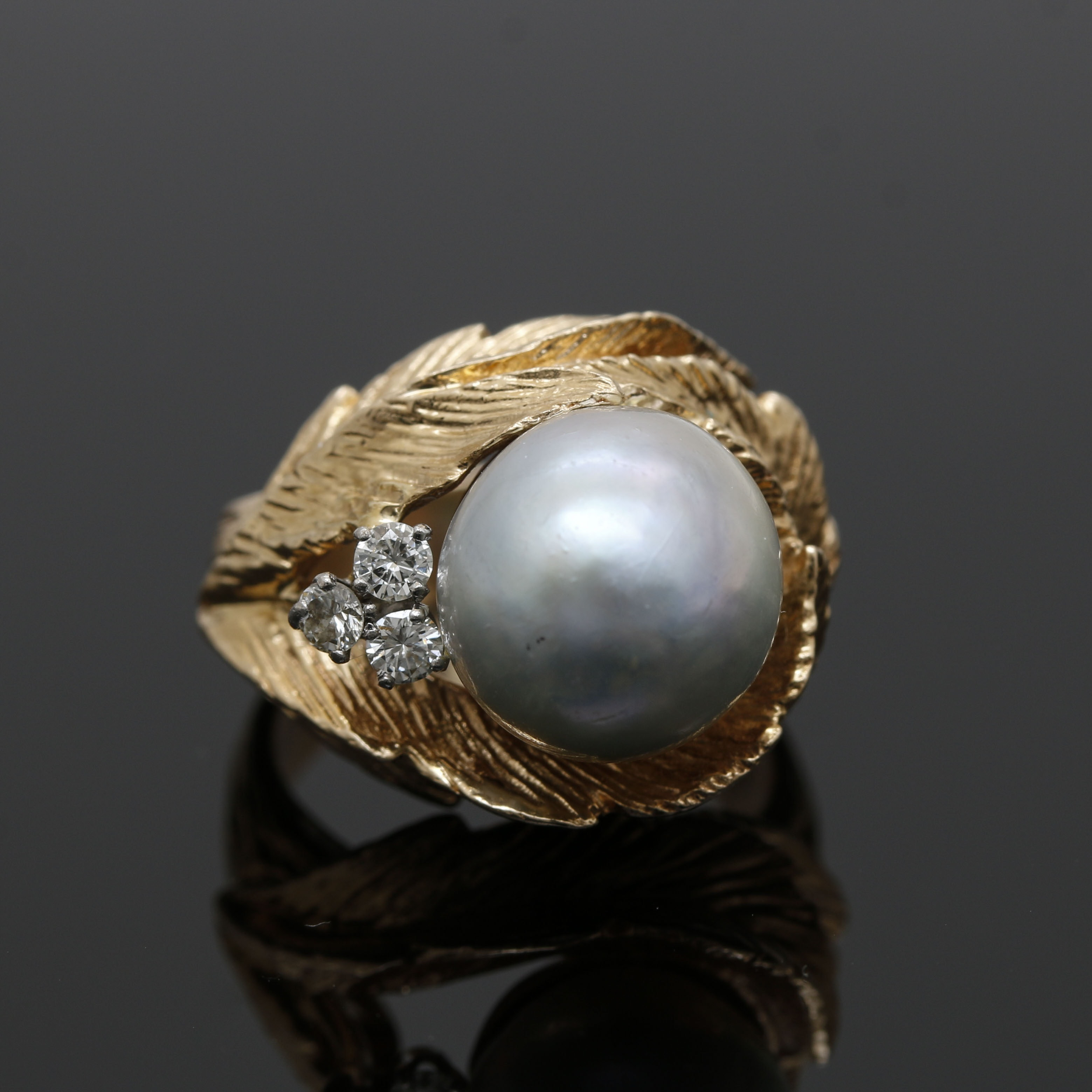 14K Yellow Gold Cultured Pearl and Diamond Foliate Ring