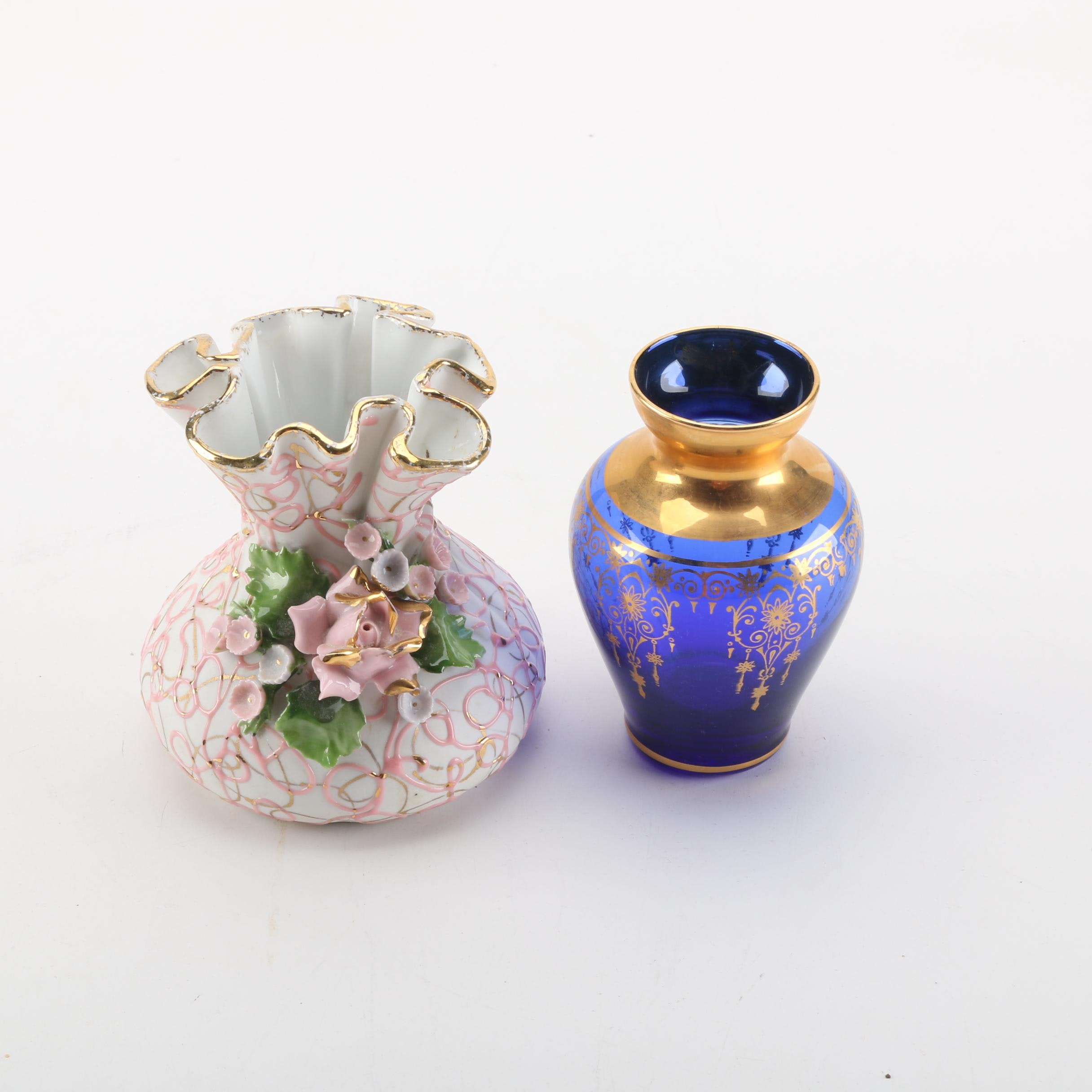 Hand Painted Lefton China Vase and Cobalt Blue Glass Vase