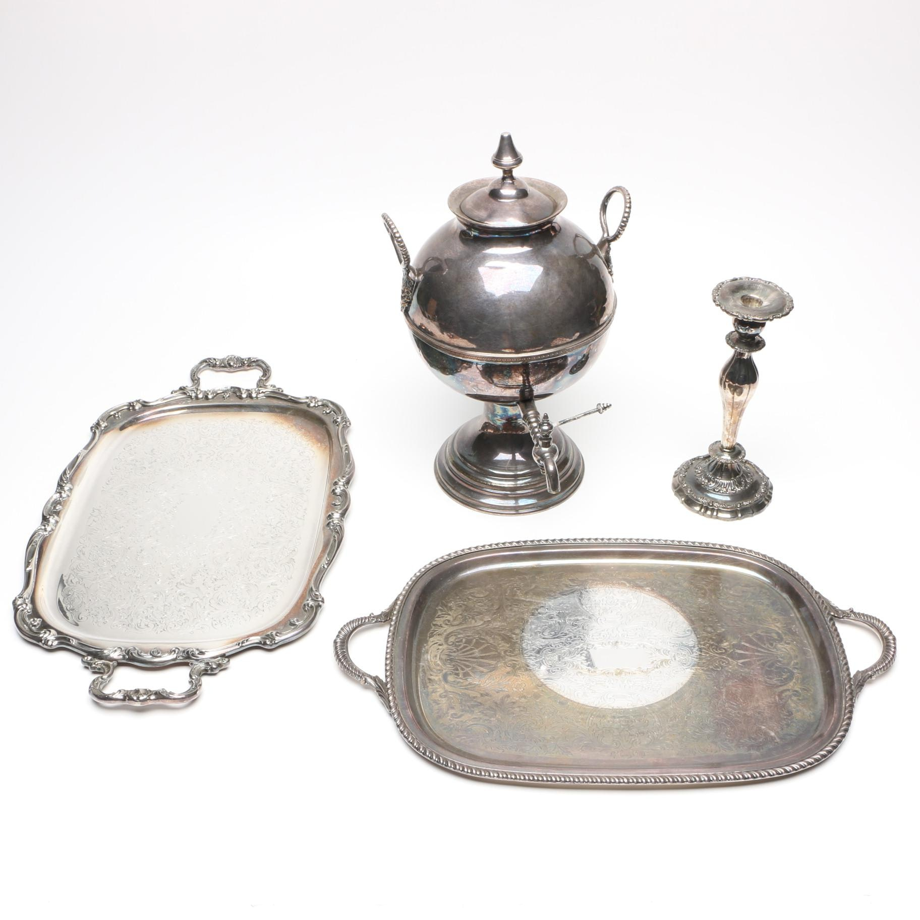 Silver Plate Samovar and Other Silver Plate Serveware