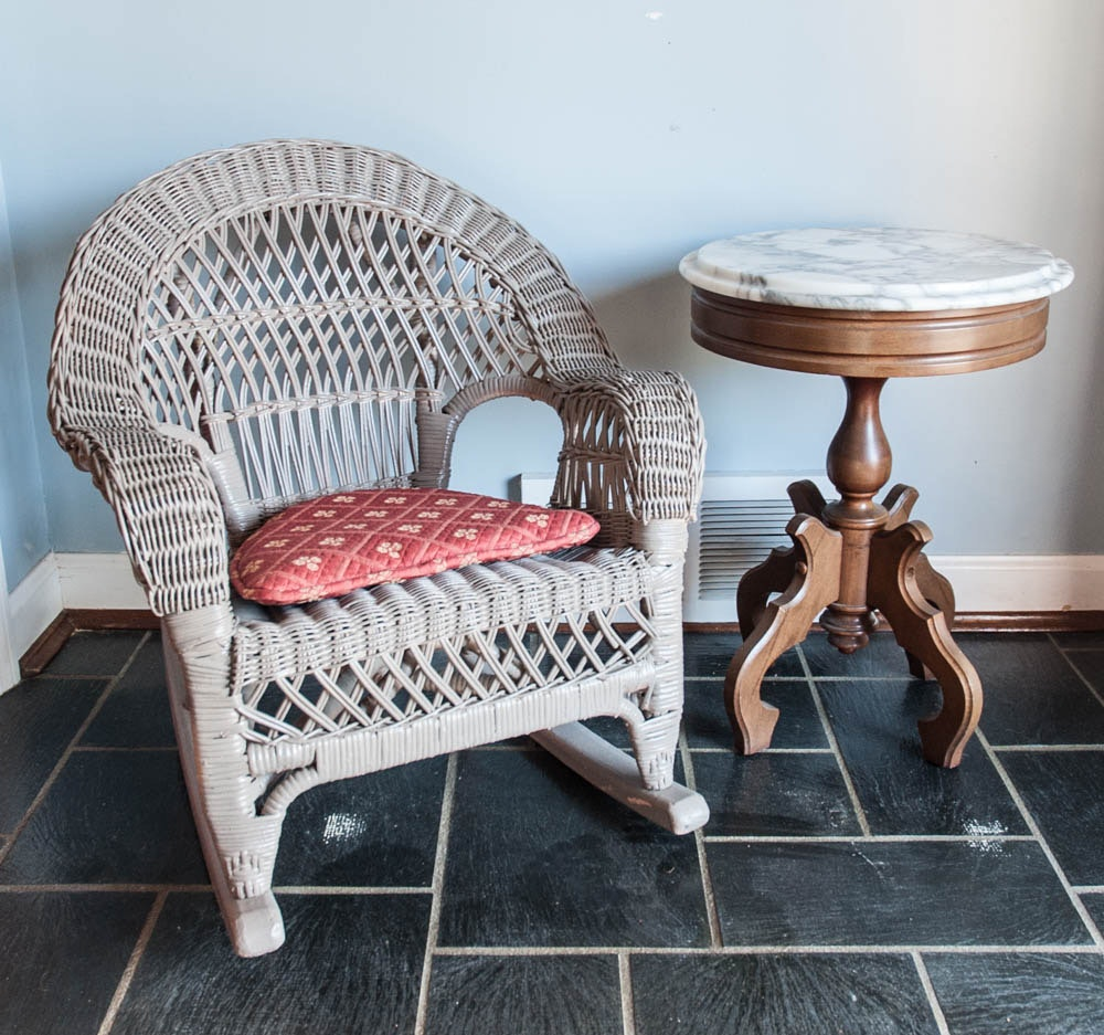 Small Victorian Marble Top Table and Woven Chair