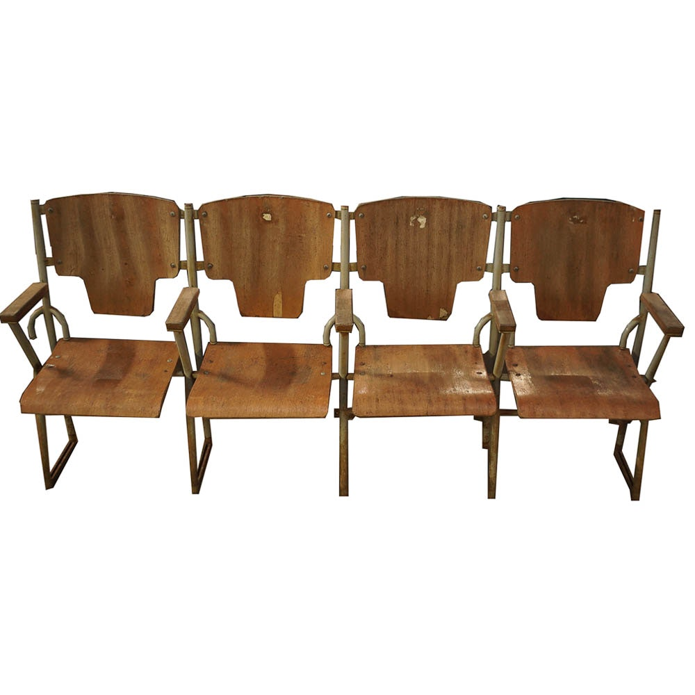 Vintage Plywood and Metal Theater Seats