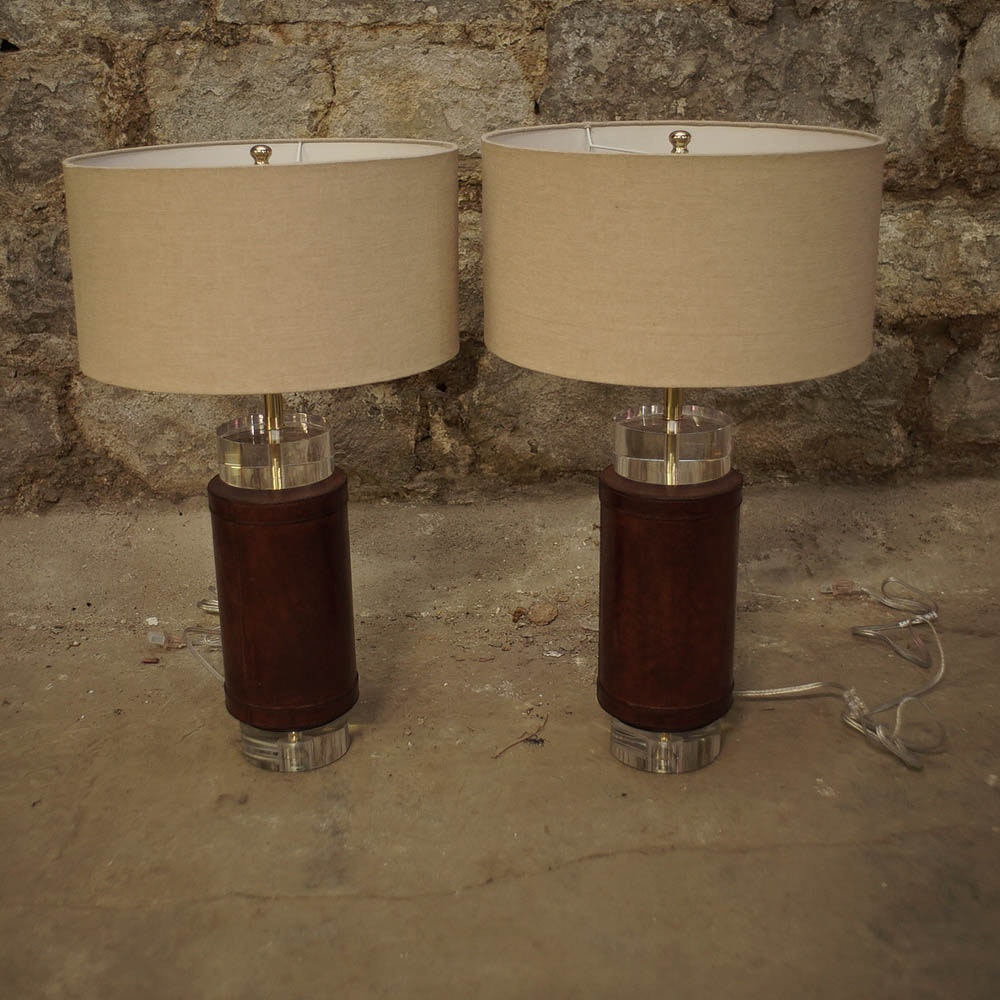 Leather and Acrylic Table Lamps