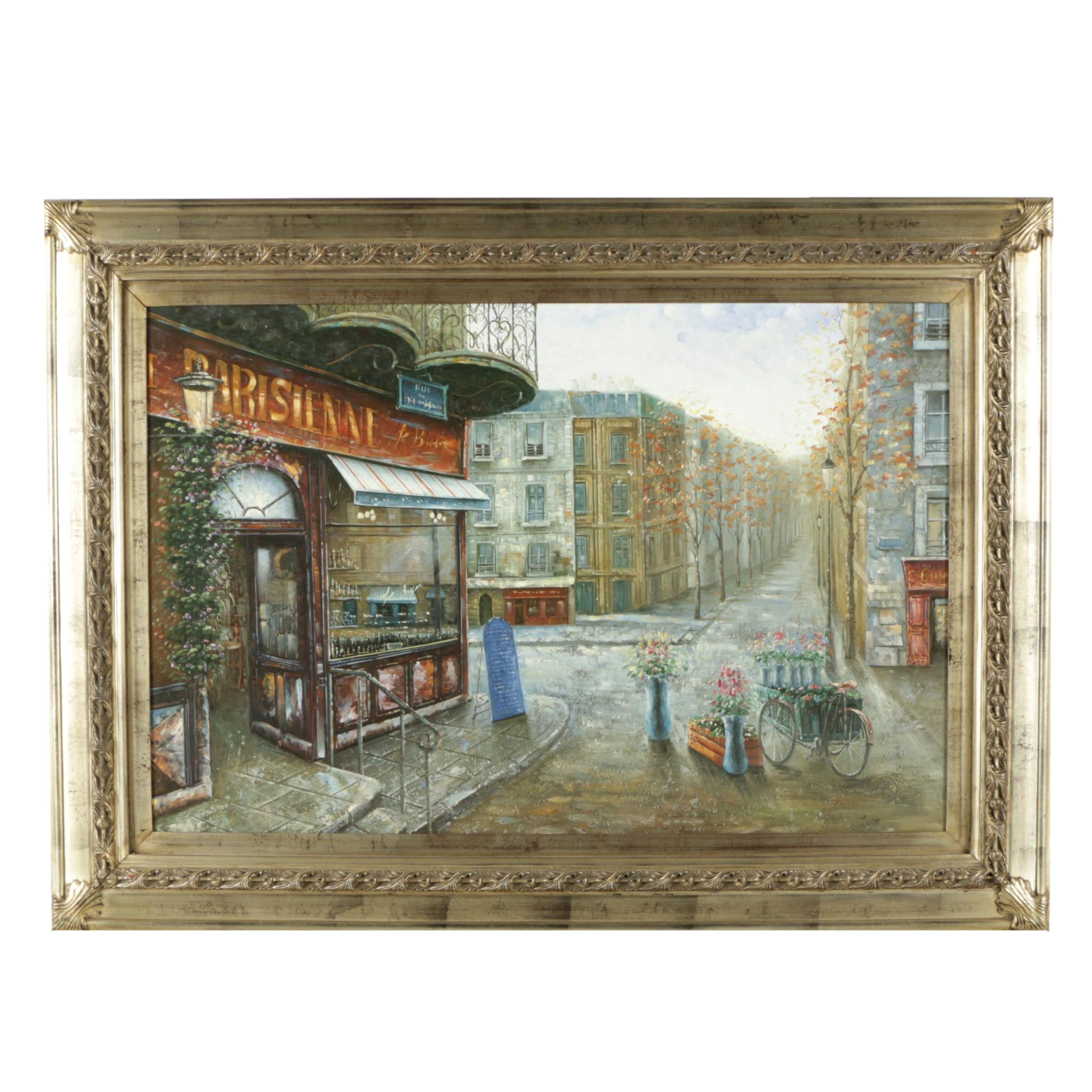 Oil Painting on Canvas of Parisian Street Scene
