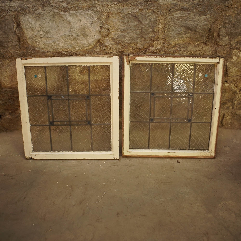 Salvaged Textured Glass Windows