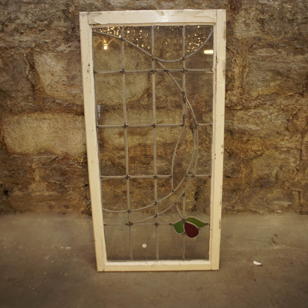 Vintage Salvaged Window With Textured and Stained Glass Accents