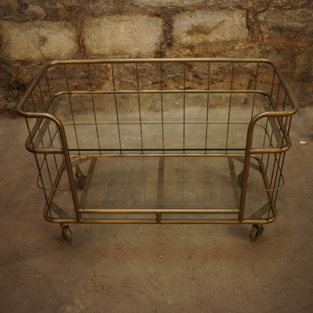 Low Gold Tone Metal and Glass Rolling Cart Table