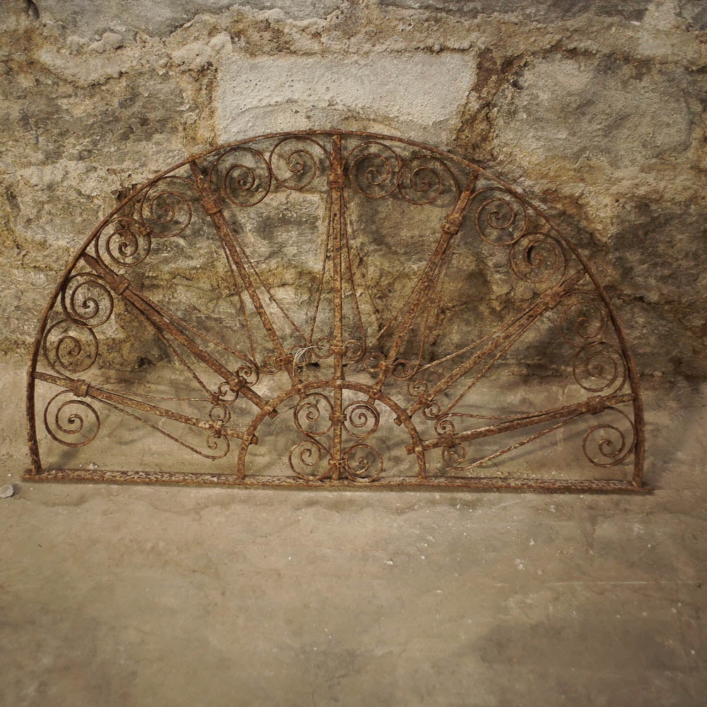 Salvaged Fan Shaped Wrought Metal Panel