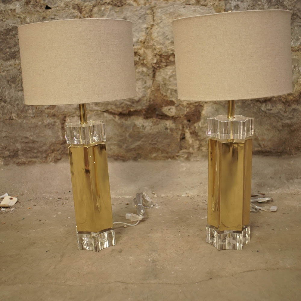 Contemporary Acrylic and Gold Tone Table Lamps
