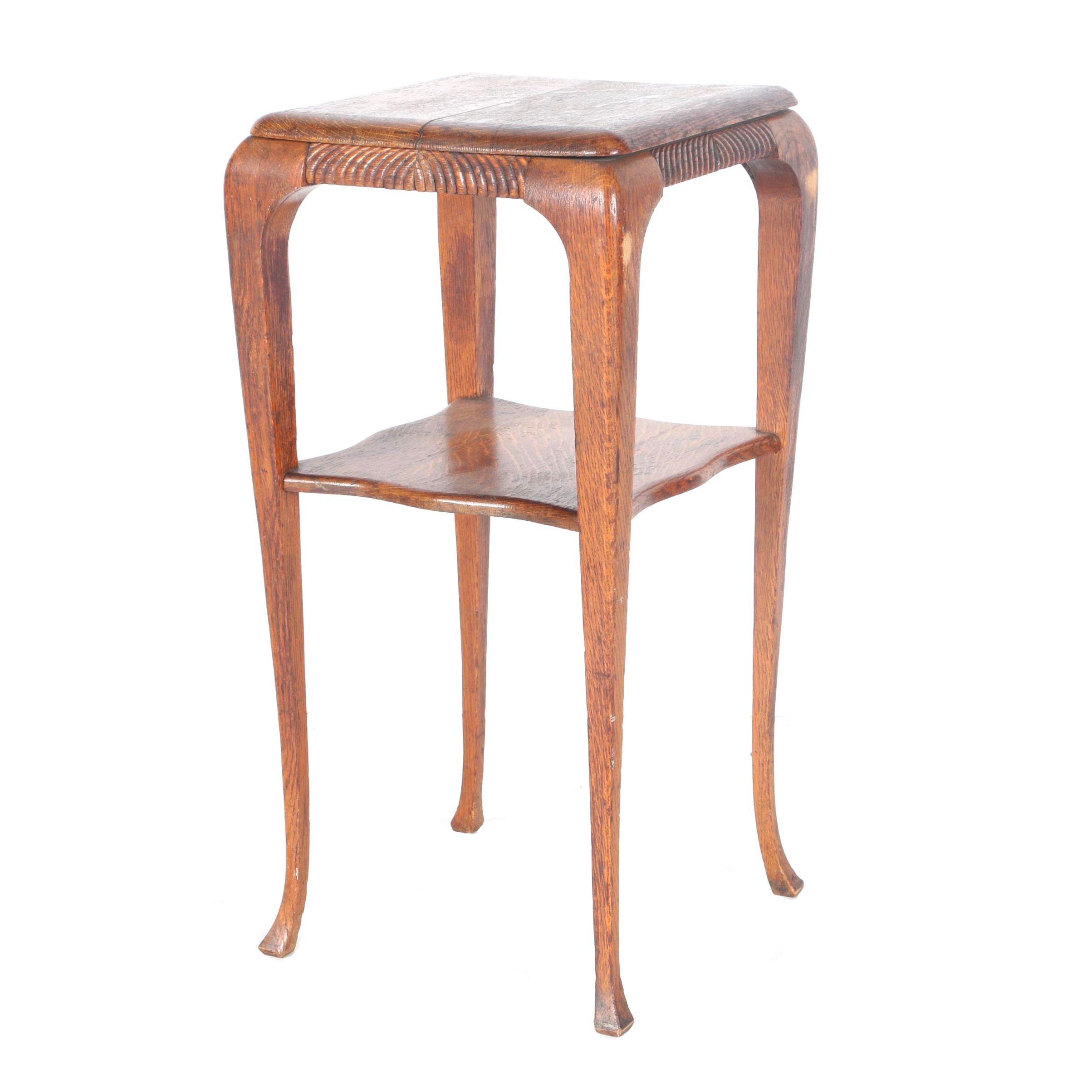 Queen Anne Style Oak Lamp Table