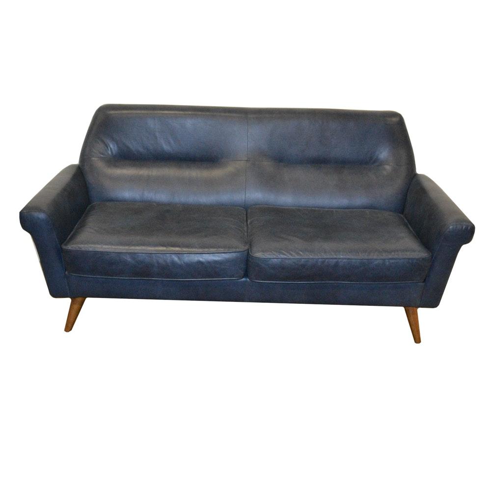 Mid Century Modern Style Blue Vinyl Sofa by West Elm
