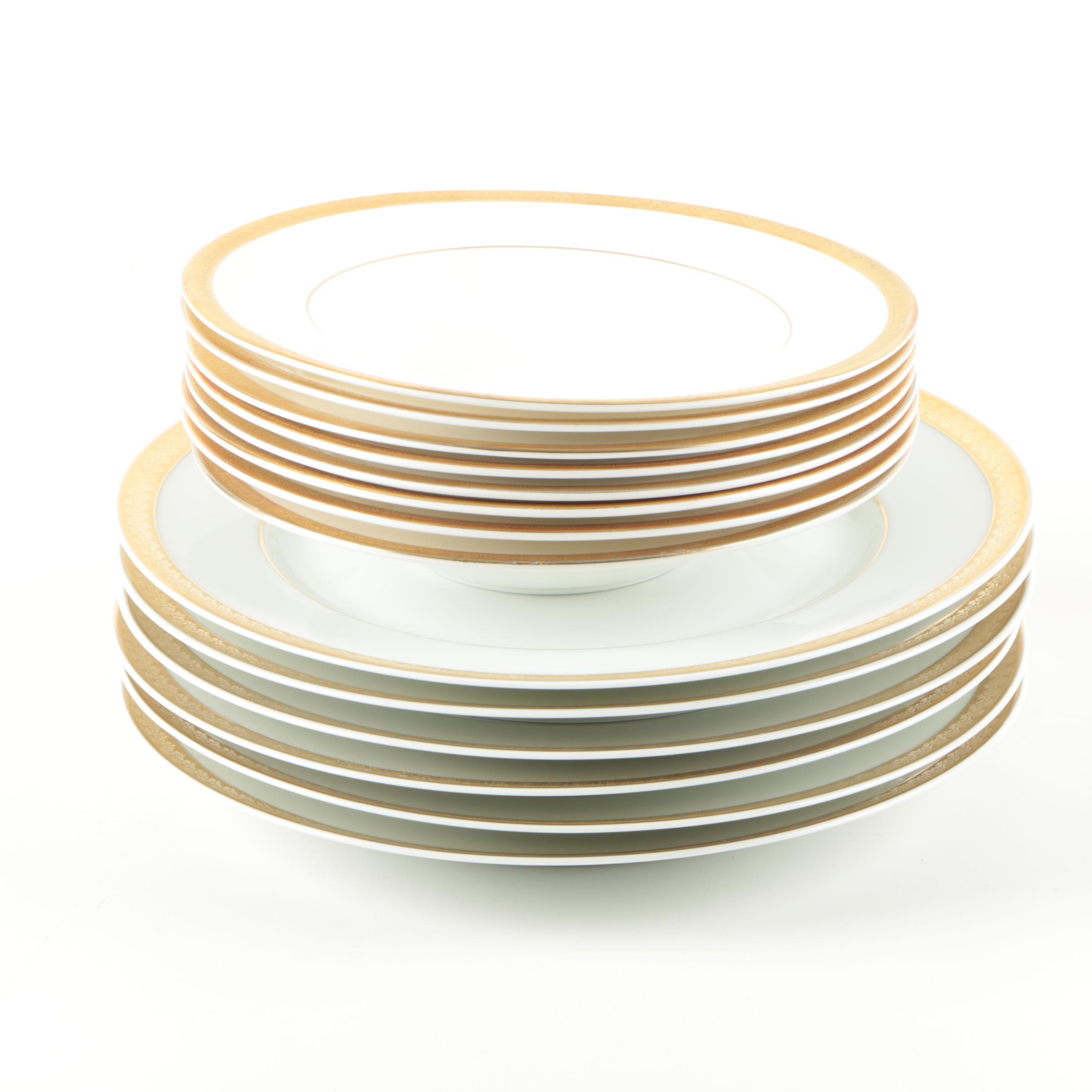 "Royal Doulton ""Royal Gold"" and Bernardaud Limoges ""Santeuil"" Porcelain Tableware"