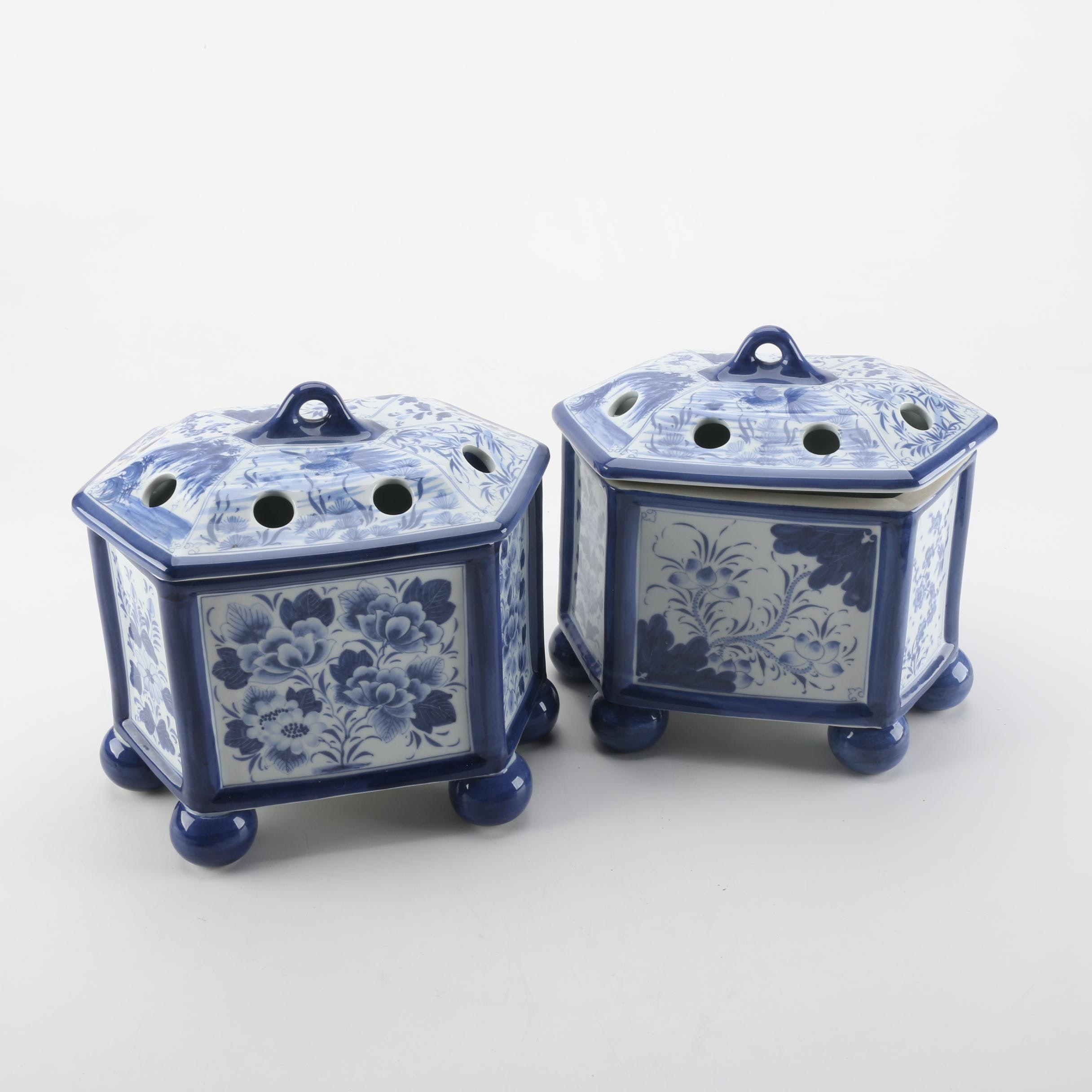Pair of Maitland Smith Blue and White Ceramic Flower Frogs