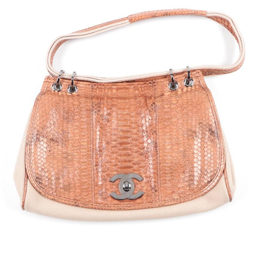 739fd810f1cf Chanel Python Snakeskin and Canvas Bag : EBTH
