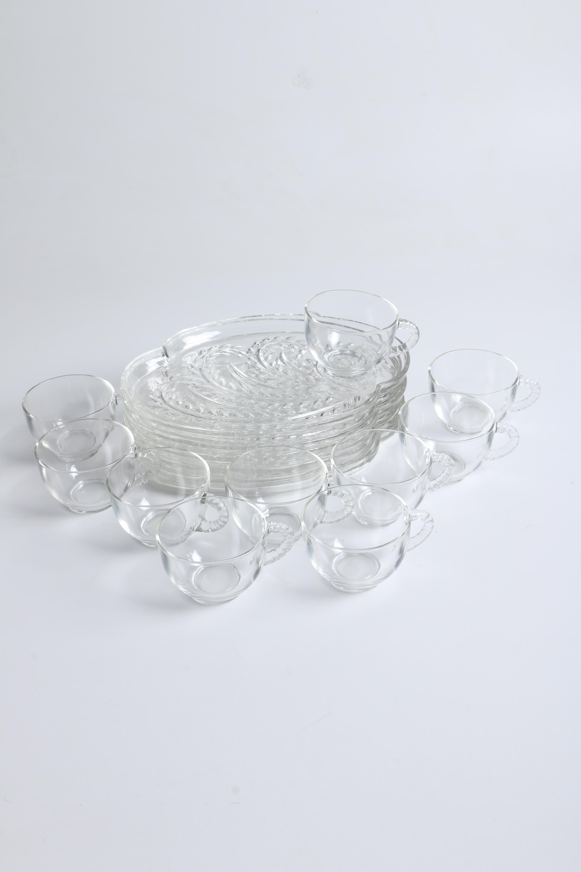 "Vintage Federal Glass ""Homestead"" Snack Plates and Cups 1960s"