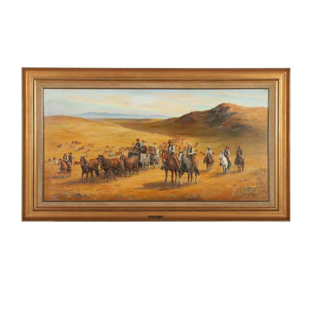 "Ruth Goldsborough Oil Painting on Canvas ""Chuckwagon on the Roundup"""