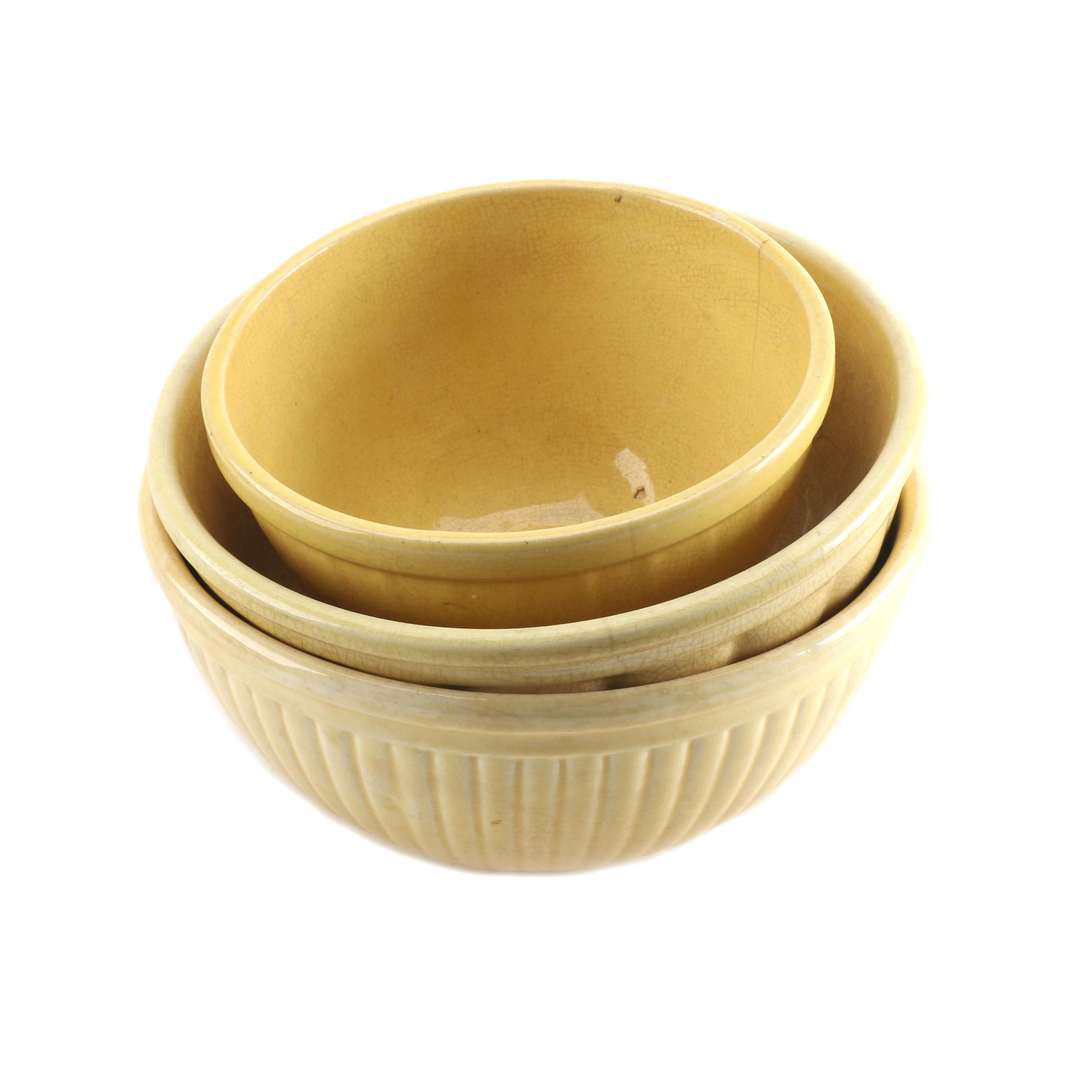 Vintage Yellow Ceramic Mixing Bowls