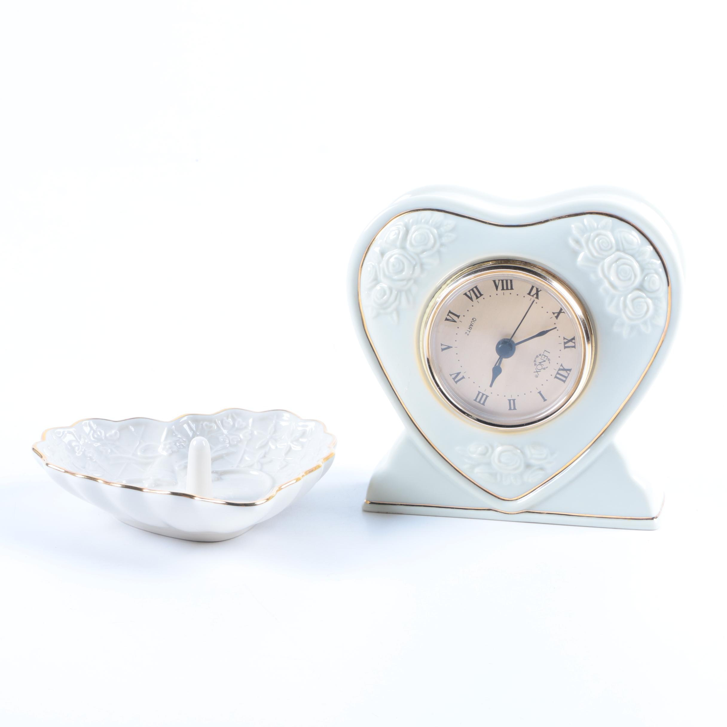 Lenox Ceramic Heart Clock and Decor