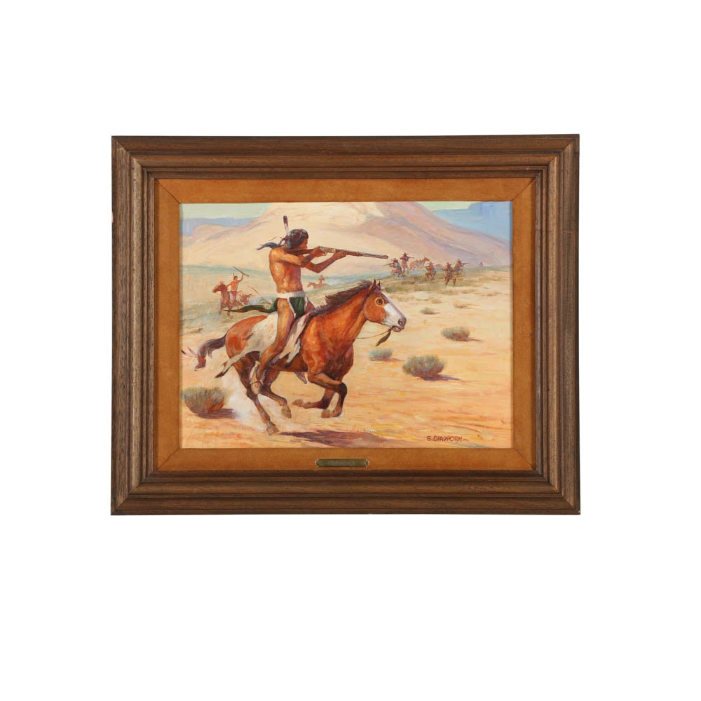 """Shep Chadhorn Oil Painting on Board """"Indians on Horses Shooting"""""""