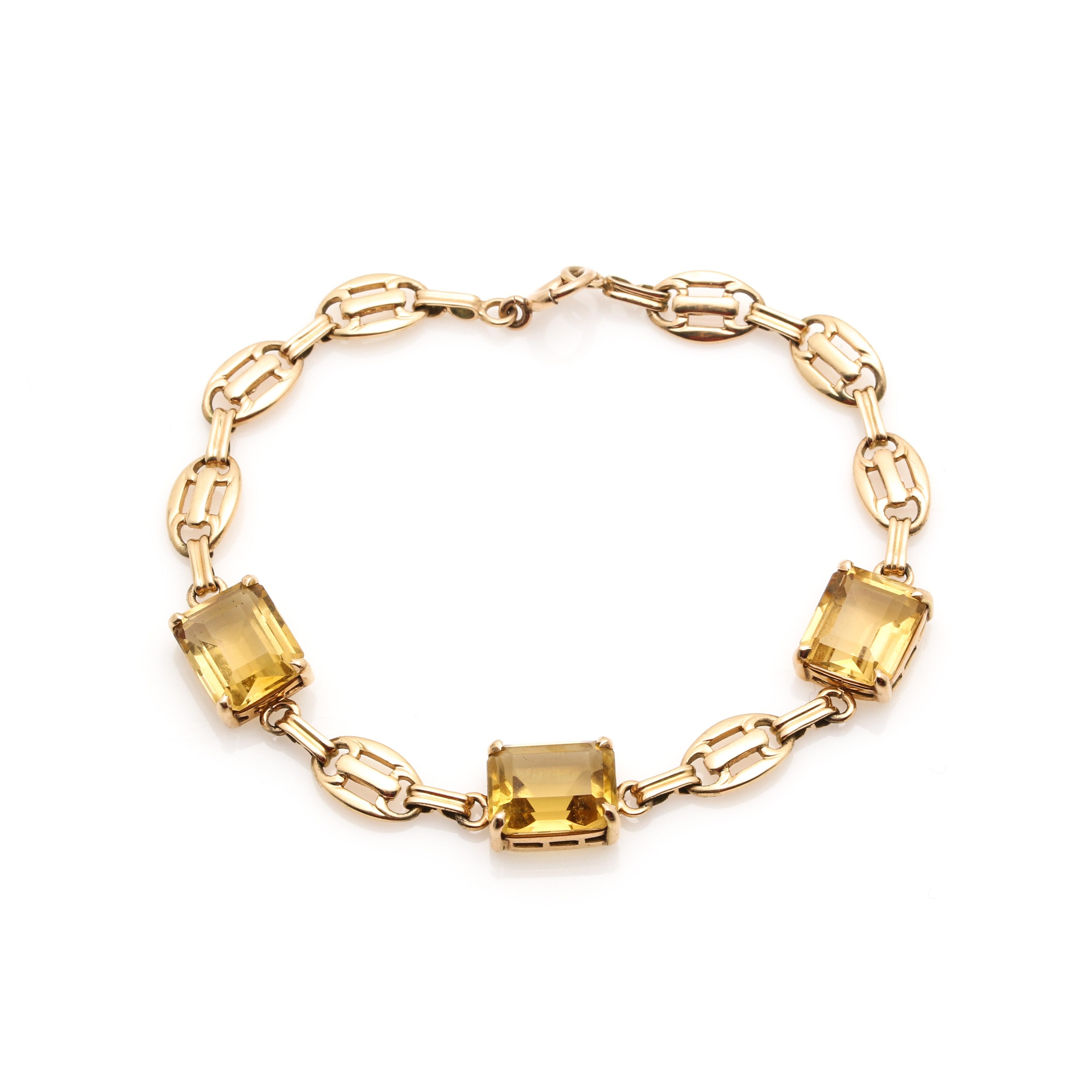 14K Yellow Gold Citrine Link Bracelet