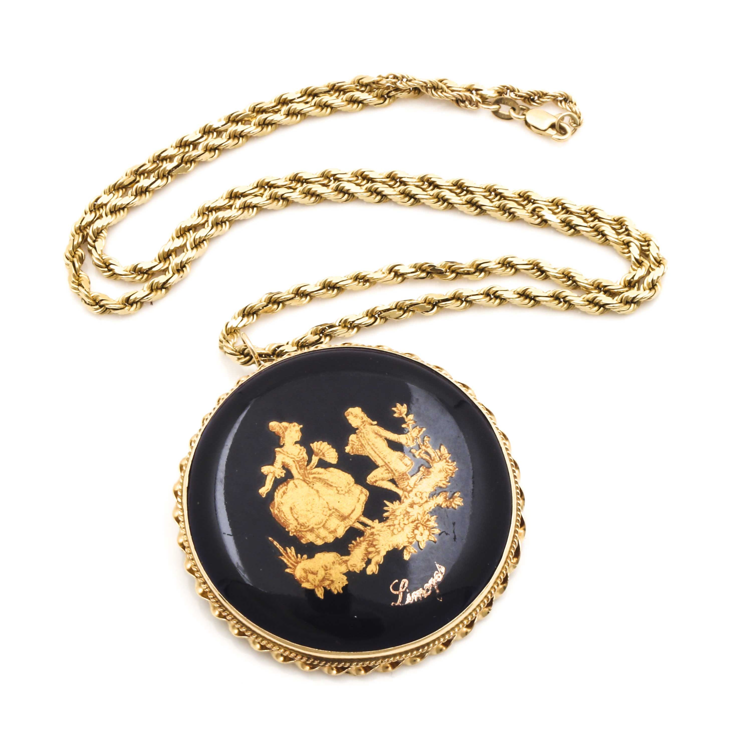 14K Yellow Gold Limoges Porcelain Pendant Necklace