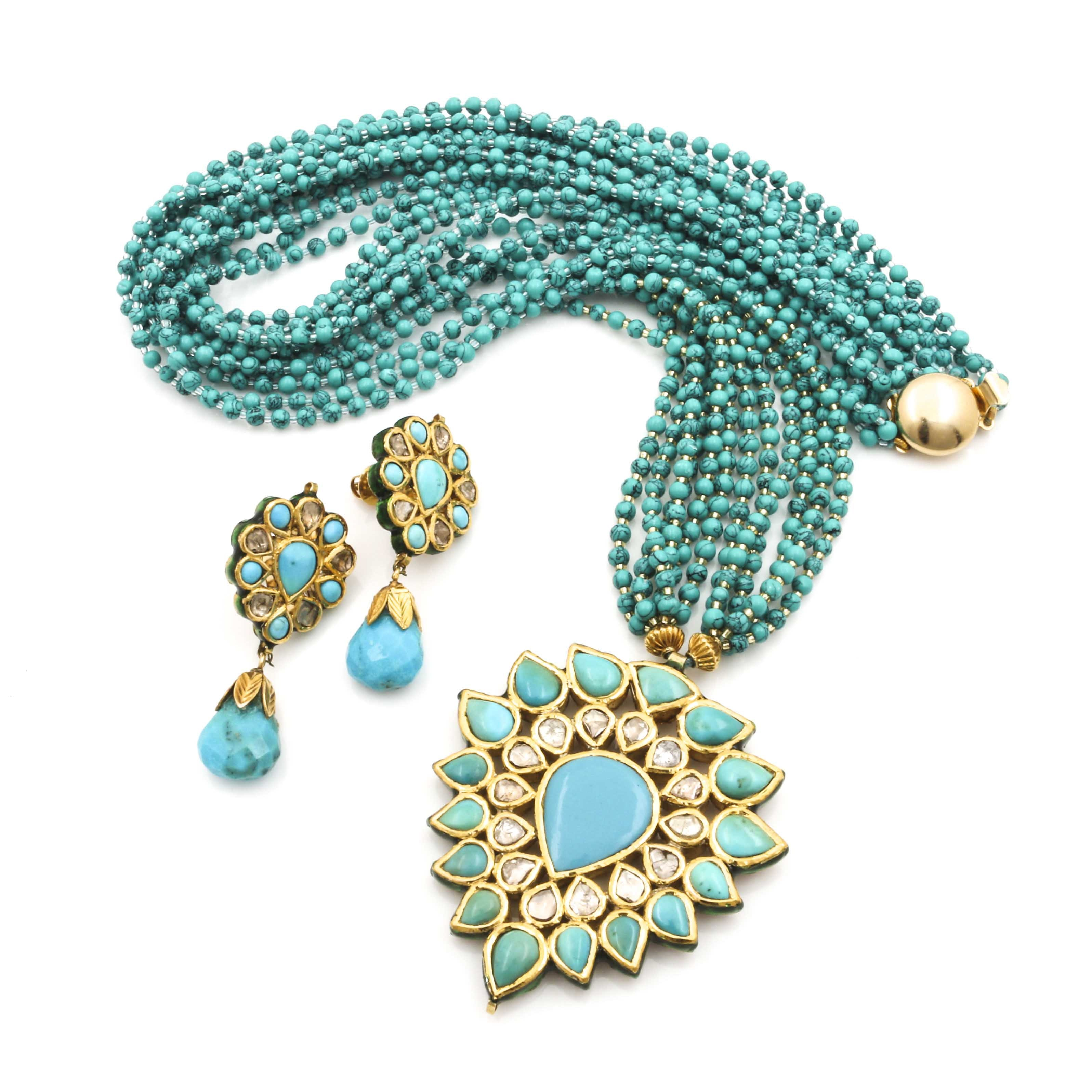 18K Yellow Gold Earrings with Diamond and Turquoise Statement Necklace