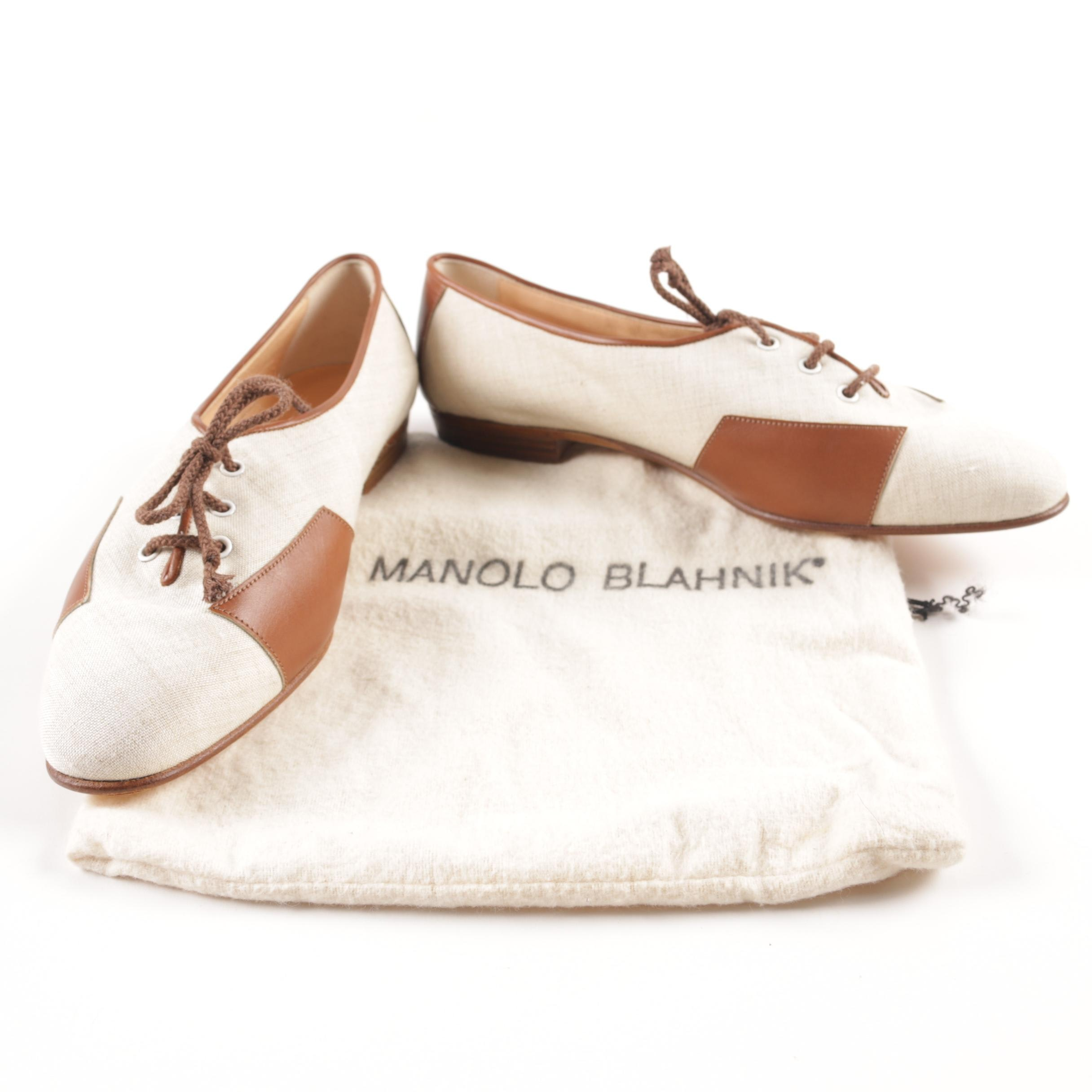 Manolo Blahnik Canvas and Leather Spectator Shoes