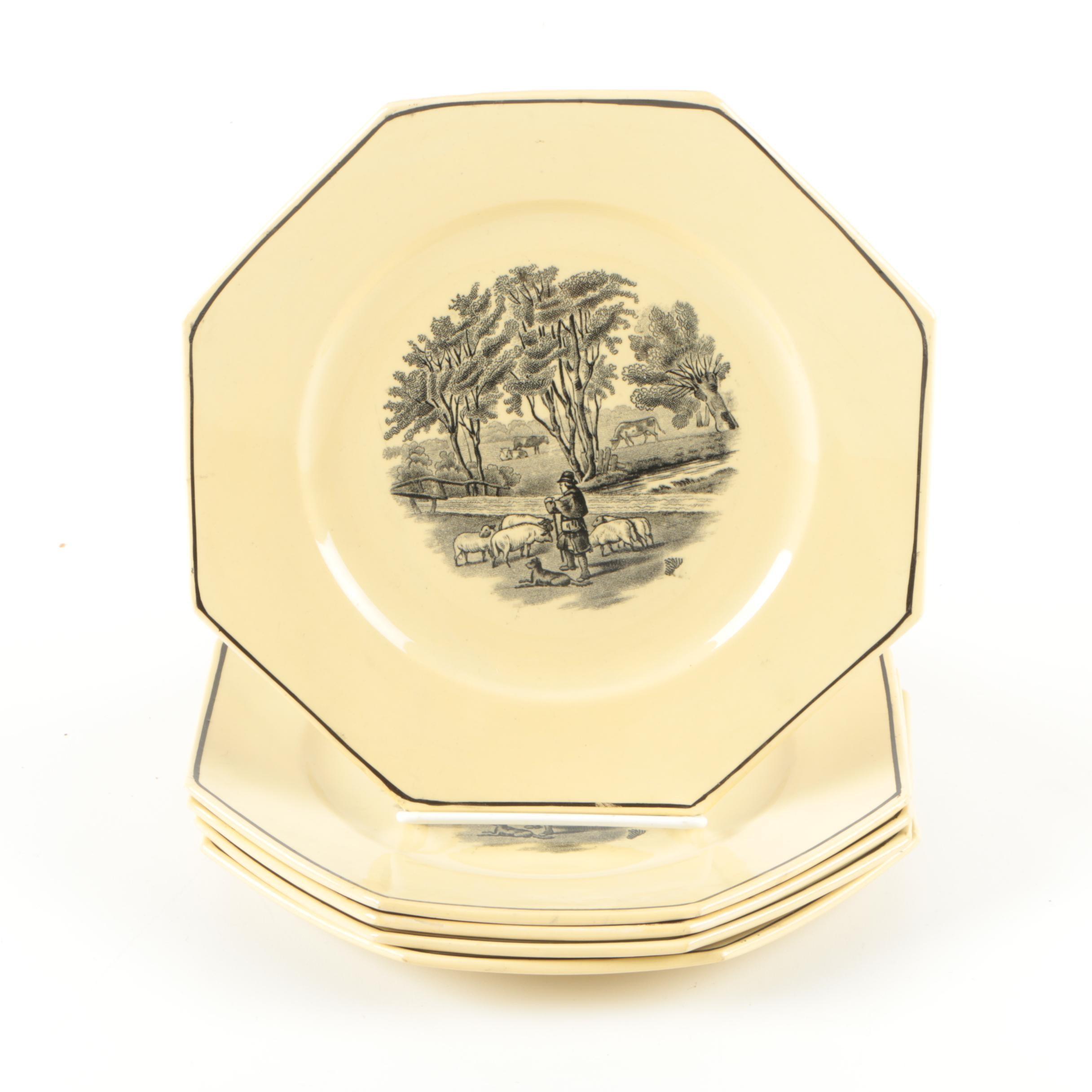 Antique Sarreguemines Octagon Pastoral Plates 1875-1900
