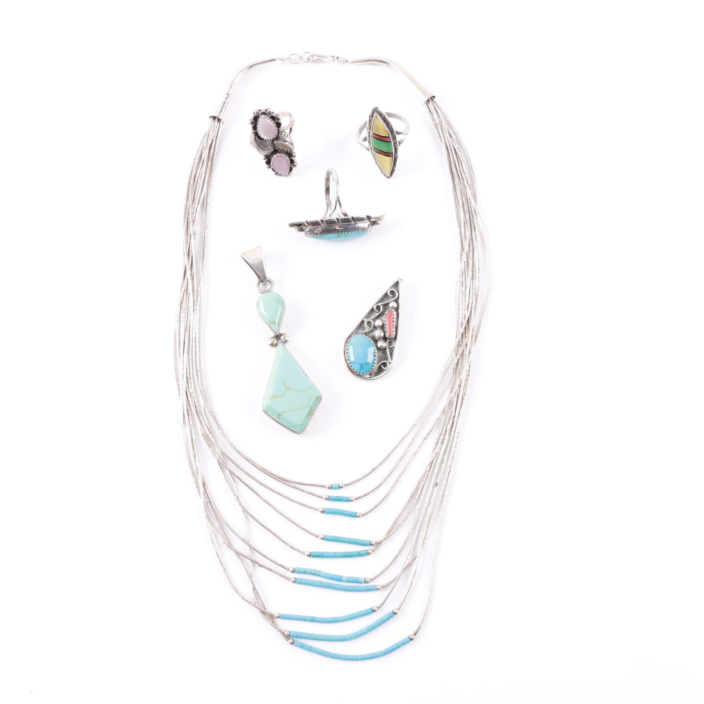 Southwestern Style Sterling Silver Jewelry Including Turquoise Necklace