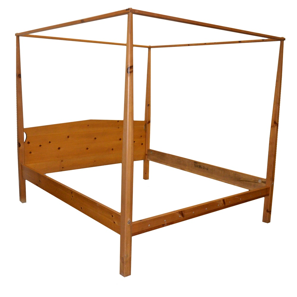 King Size Pine Canopy Bed Frame