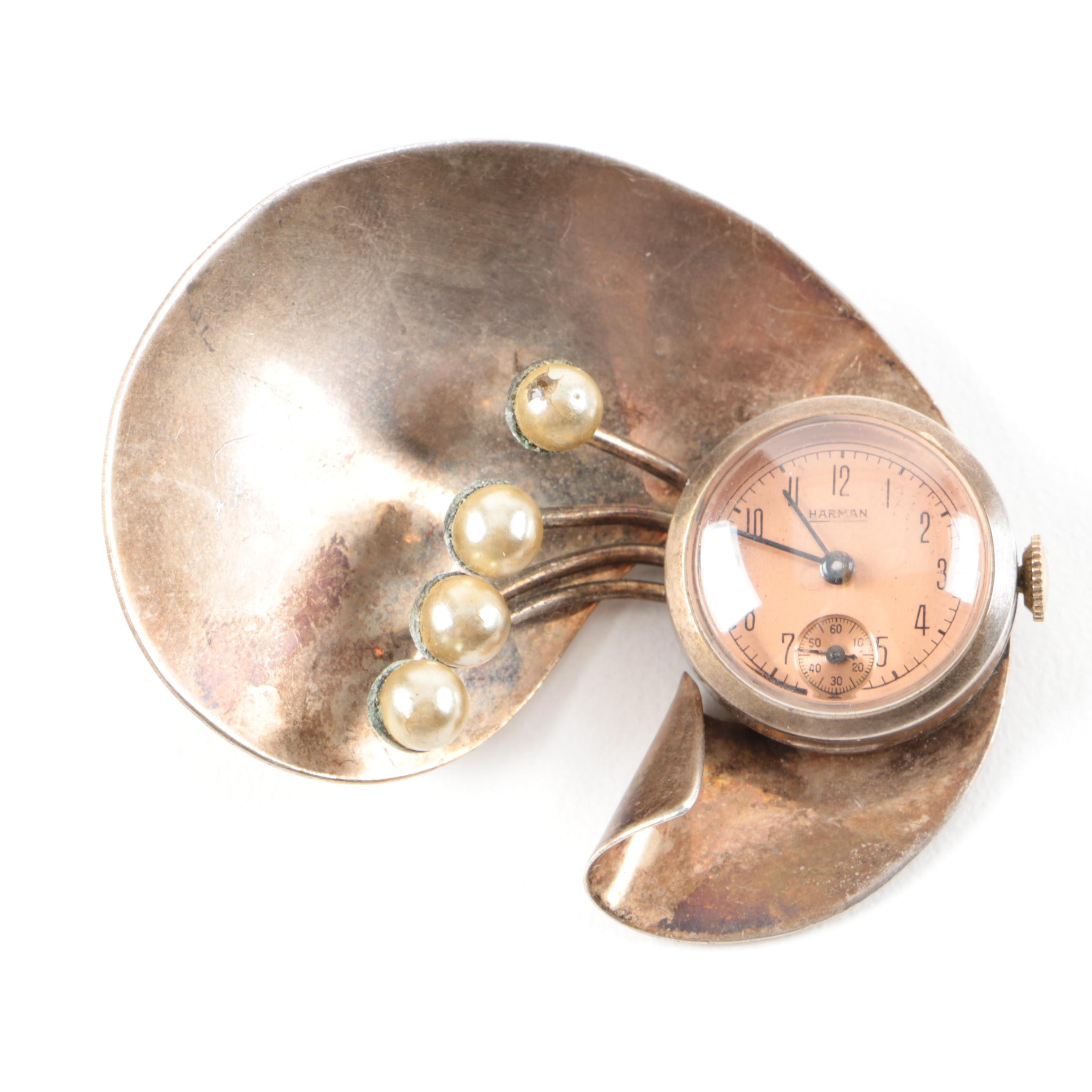 Vintage Sterling Silver Wind-Up Watch Brooch