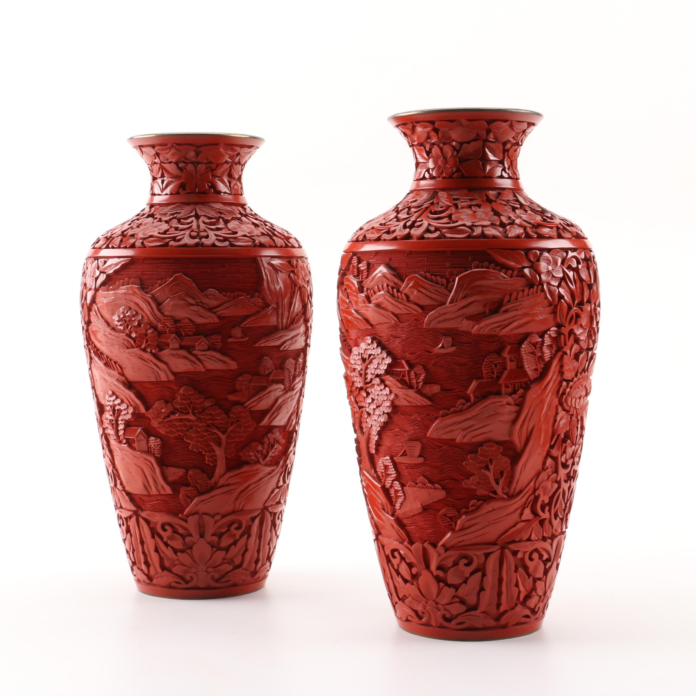 Chinese Cinnebar Style Vases