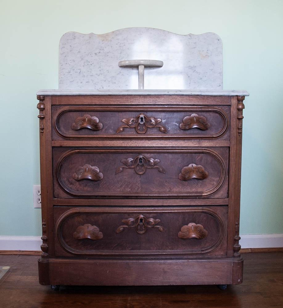 Victorian Marble Top Vanity Chest