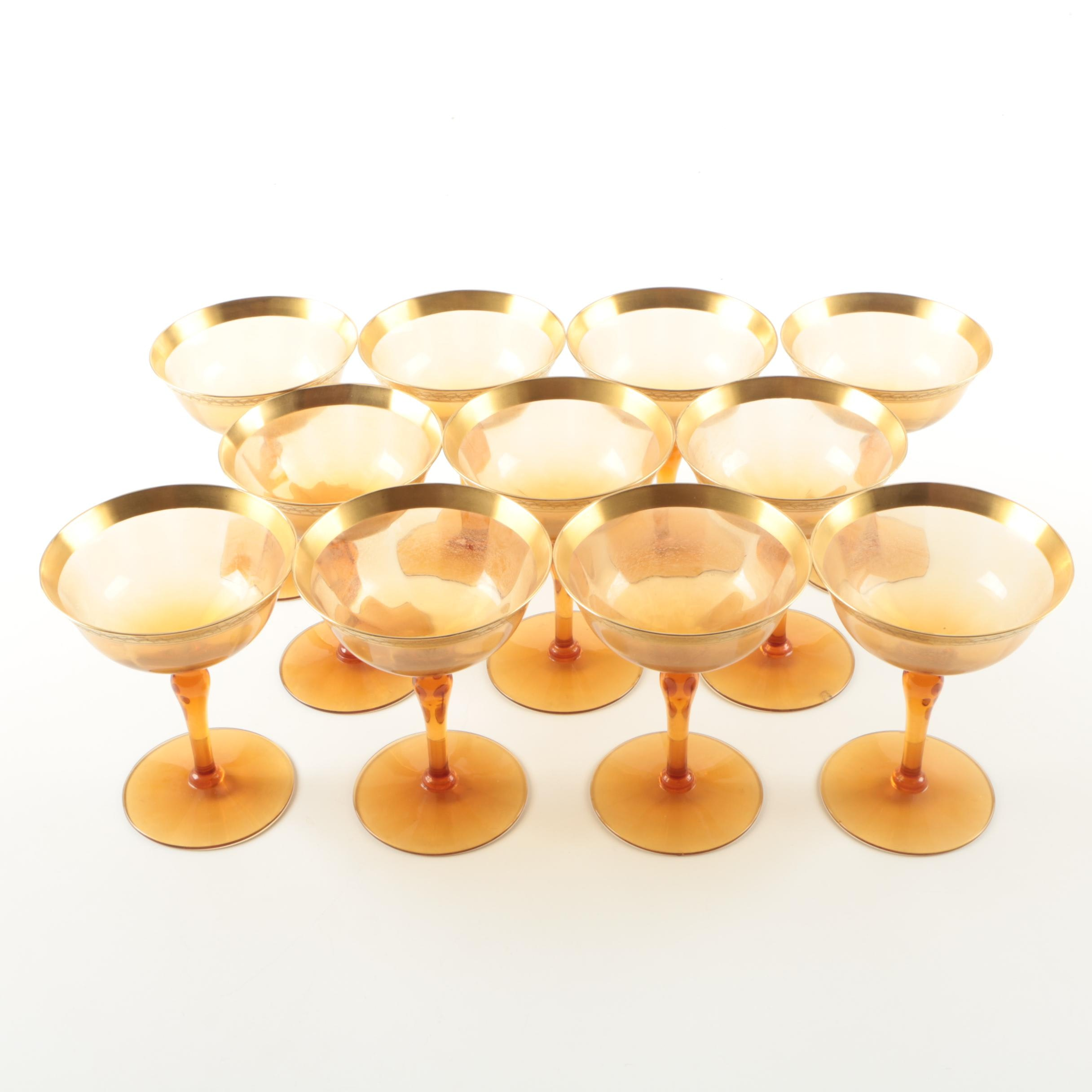 Amber Champagne Coupe Set with Gold Encrusted Rim