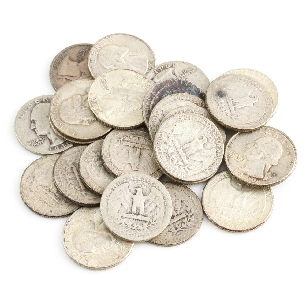 Twenty-Five Washington Silver Quarters