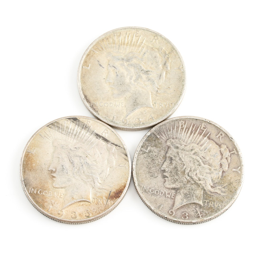 Three Peace Silver Dollars from the 1930s