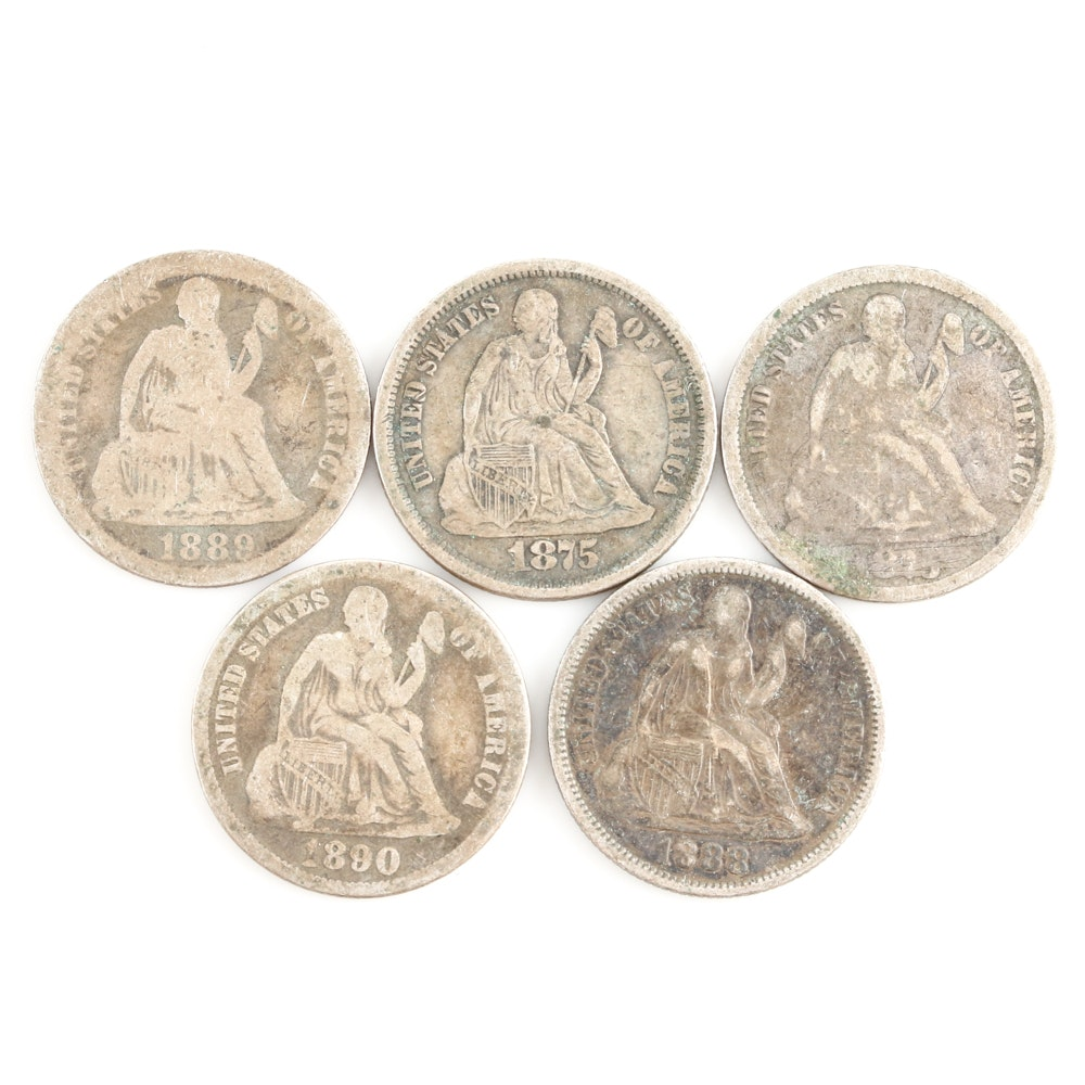 Five Liberty Seated Silver Dimes