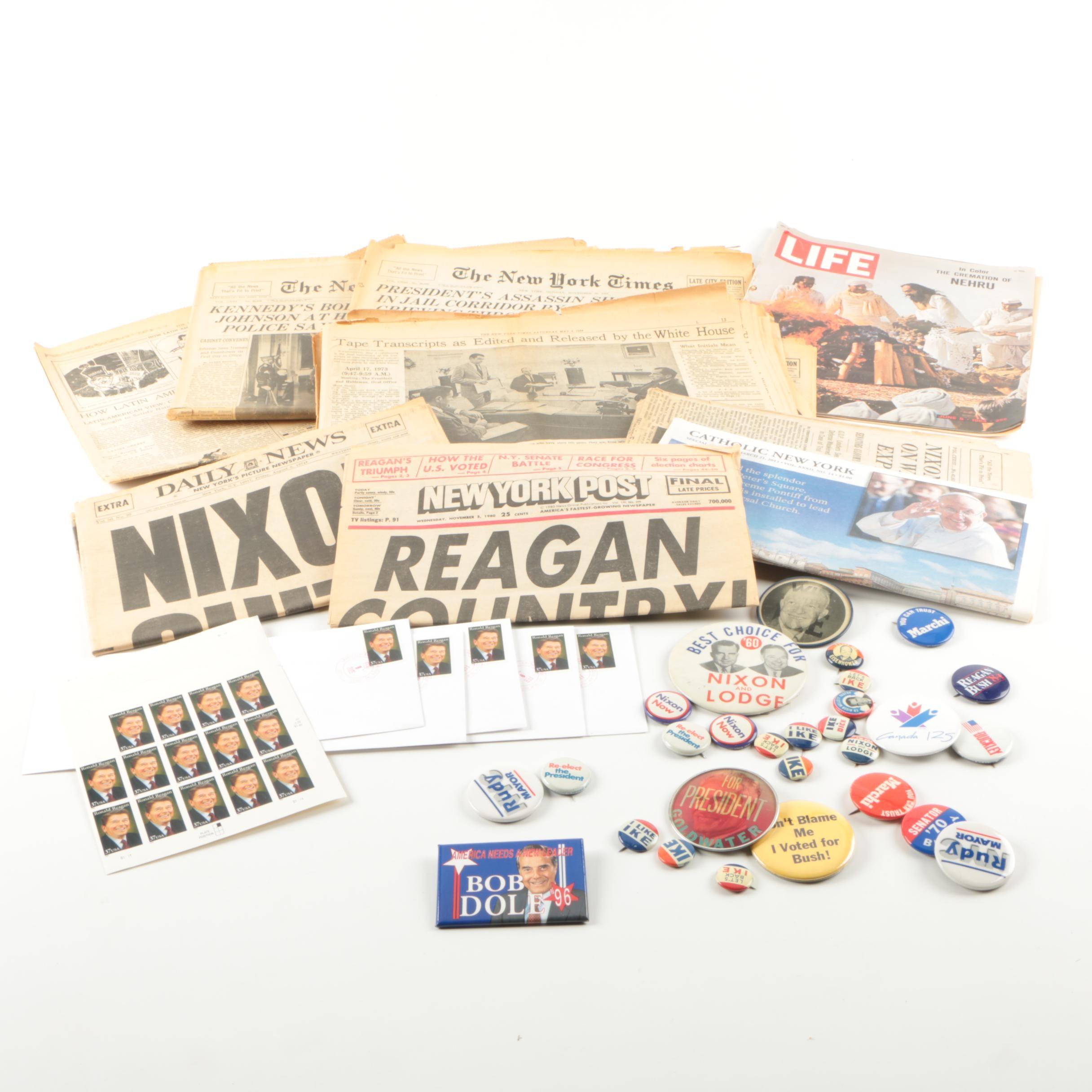 Political Memorabilia Collection Including Reagan, JFK, Nixon