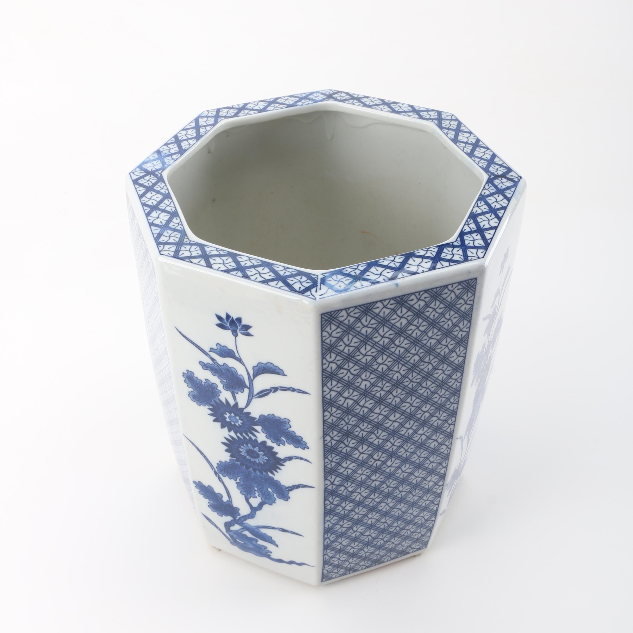 Asian Style Octagonal Blue and White Ceramic Vase