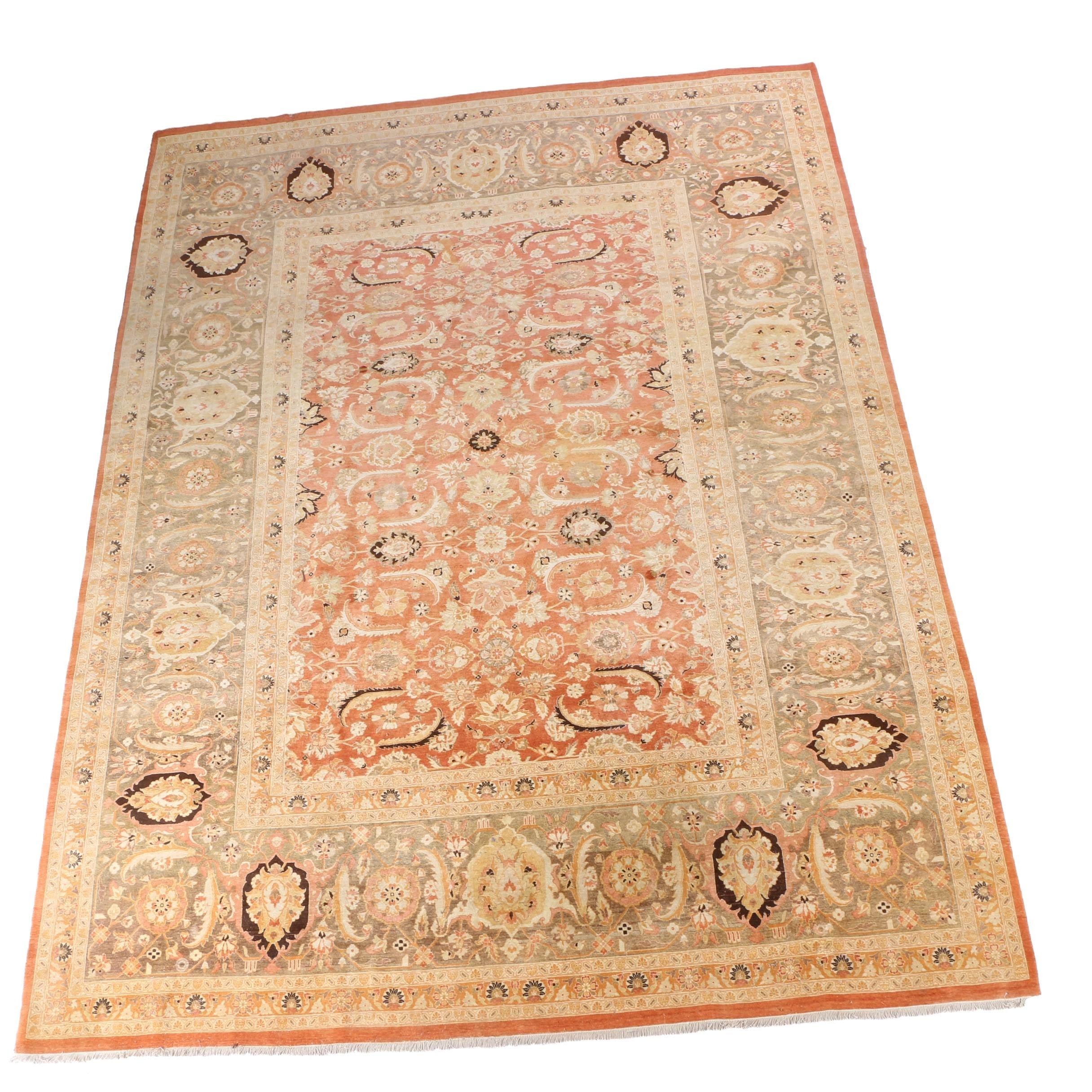 Hand-Knotted Pakistani Peshawar Room Sized Carpet