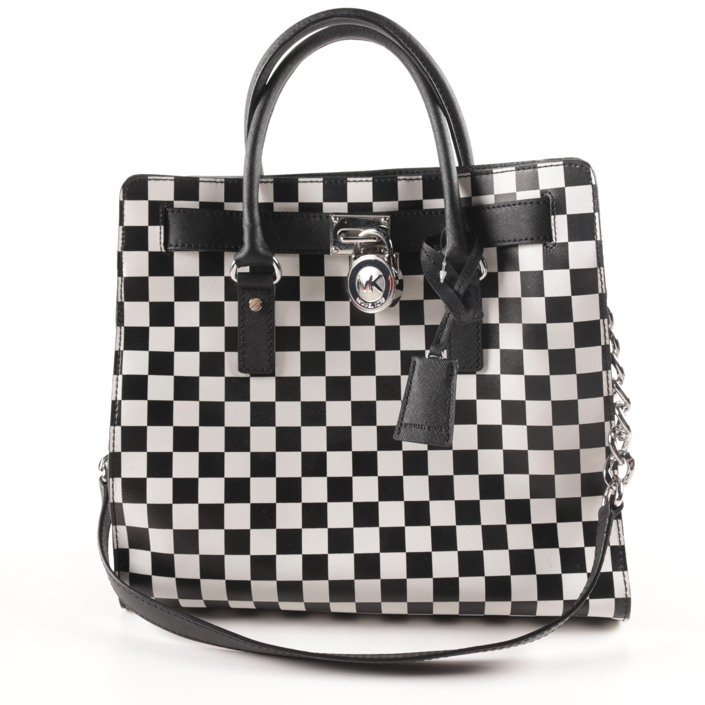 Michael by Michael Kors Large Hamilton Checkered Board Print Tote