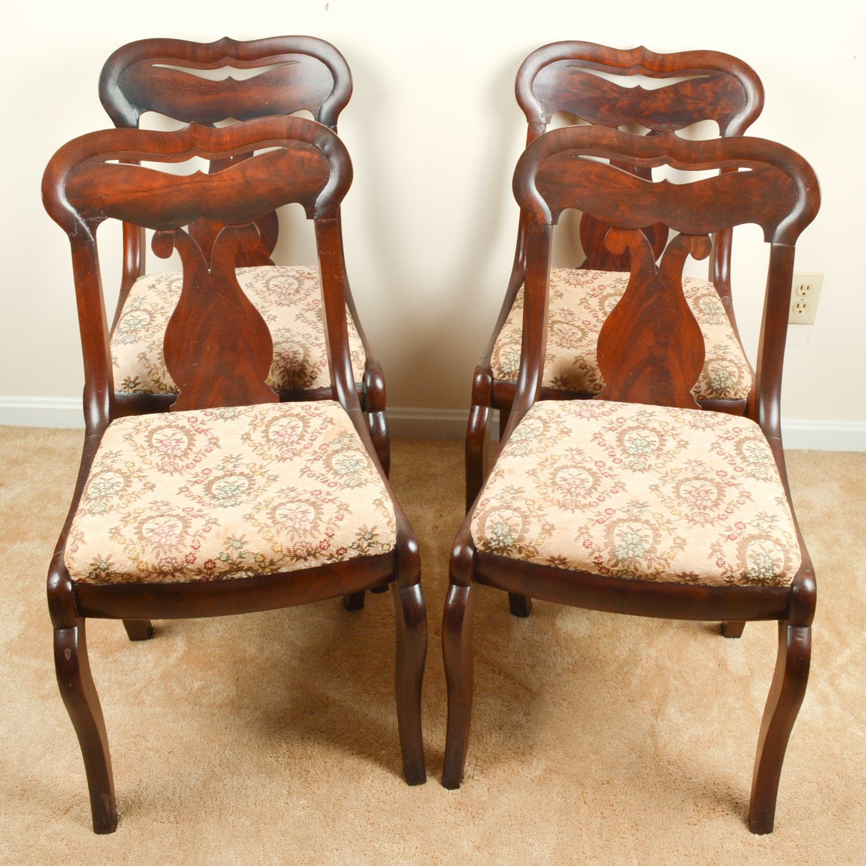 Antique Late Empire Mahogany Dining Chairs