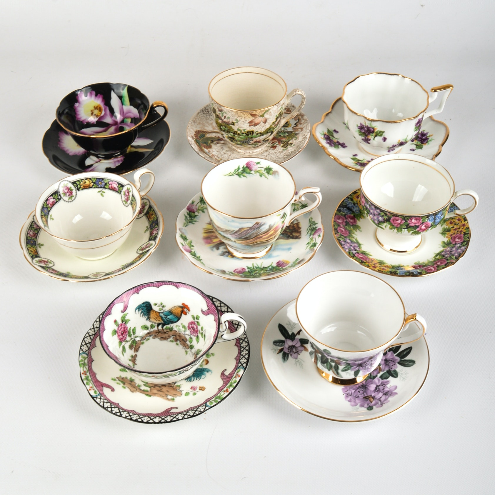 1940s Era English Fine Bone China Teacups and Saucers including Royal Albert