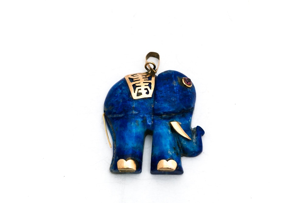 14K Yellow Gold Accented Lapis Lazuli Elephant Pendant