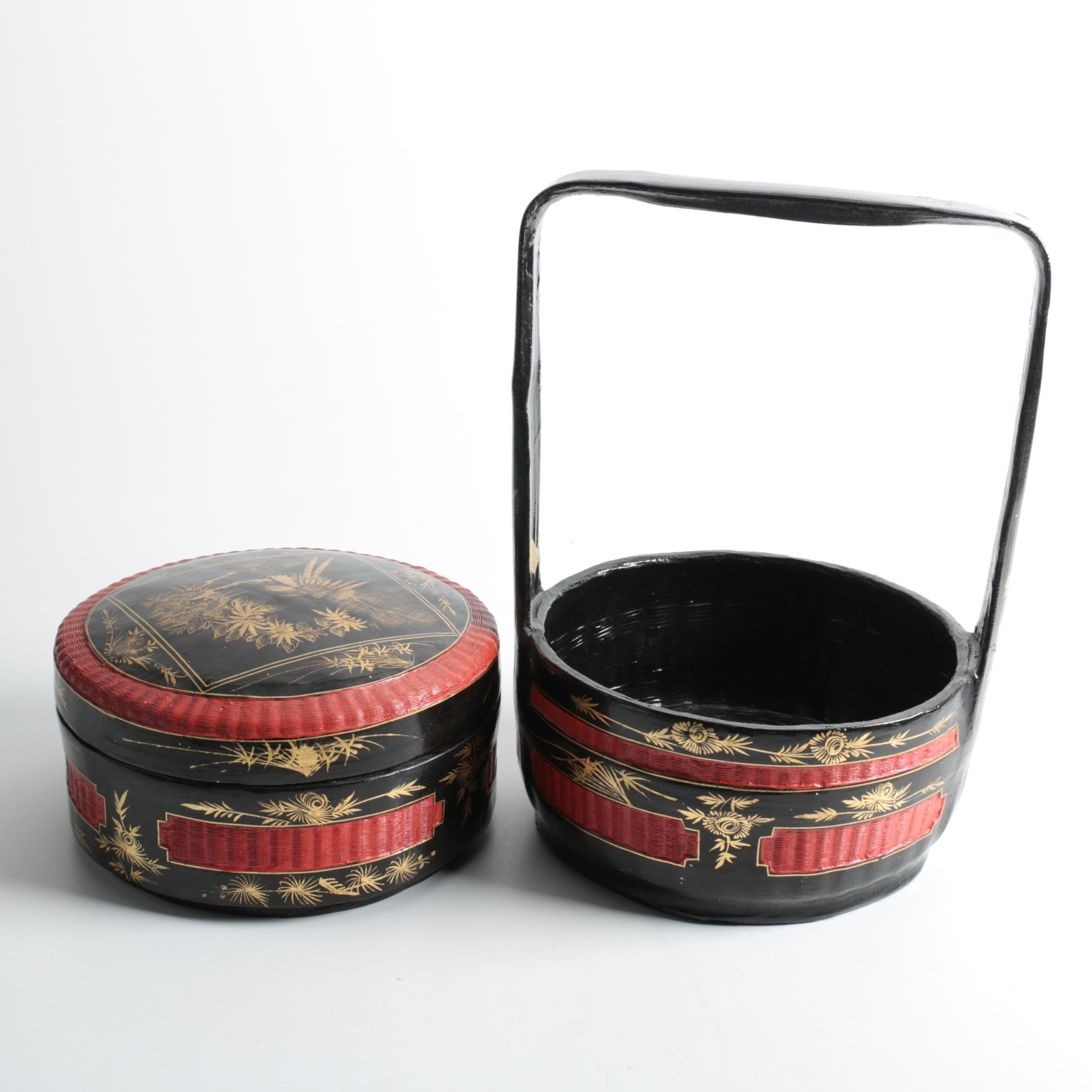 Asian Inspired Woven Wooden Baskets
