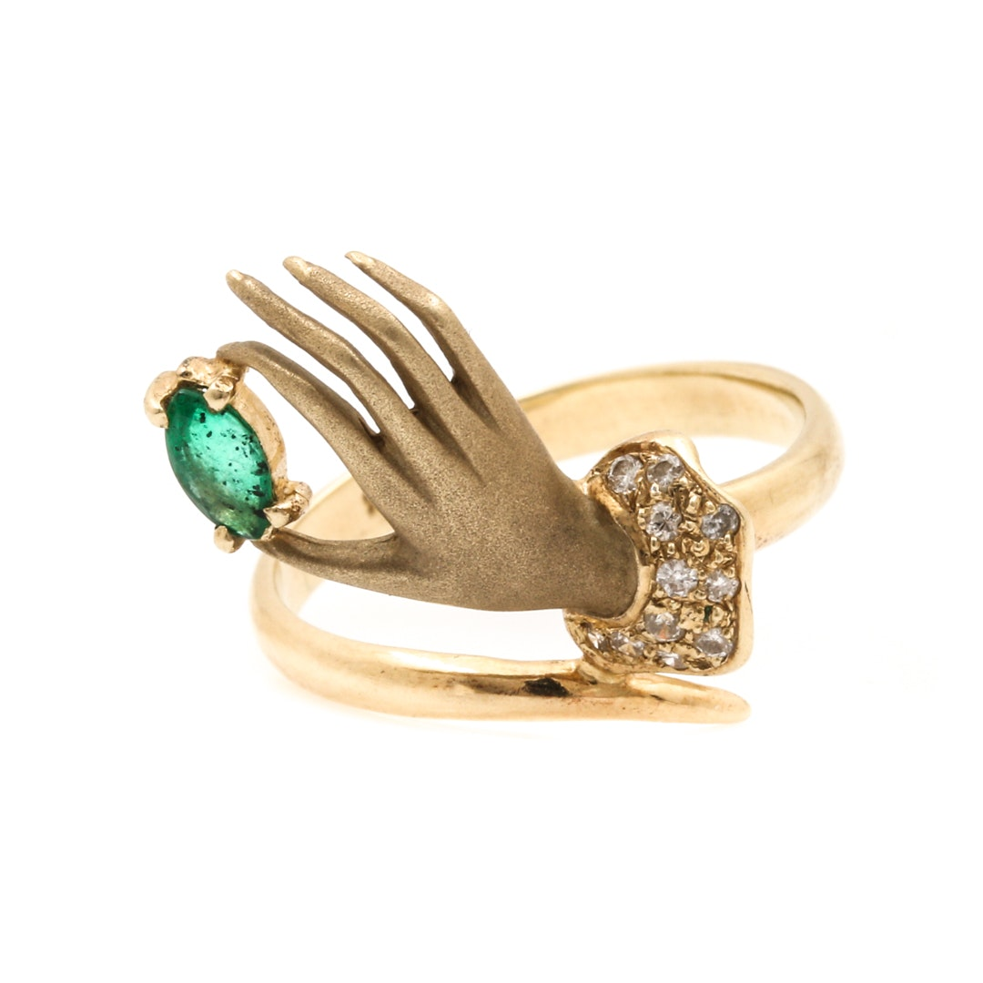 14K Yellow Gold Emerald and Diamond Hand Motif Ring