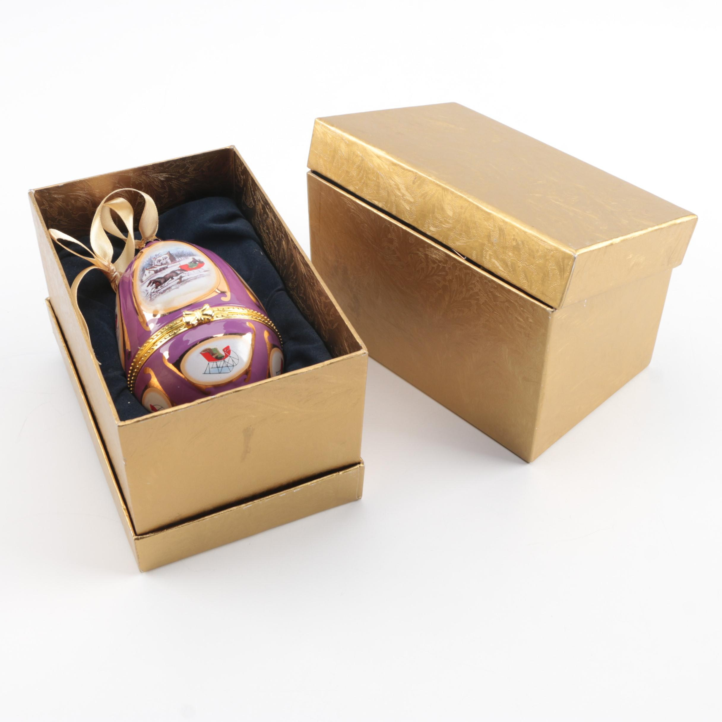 Ceramic Music Box Egg Ornaments
