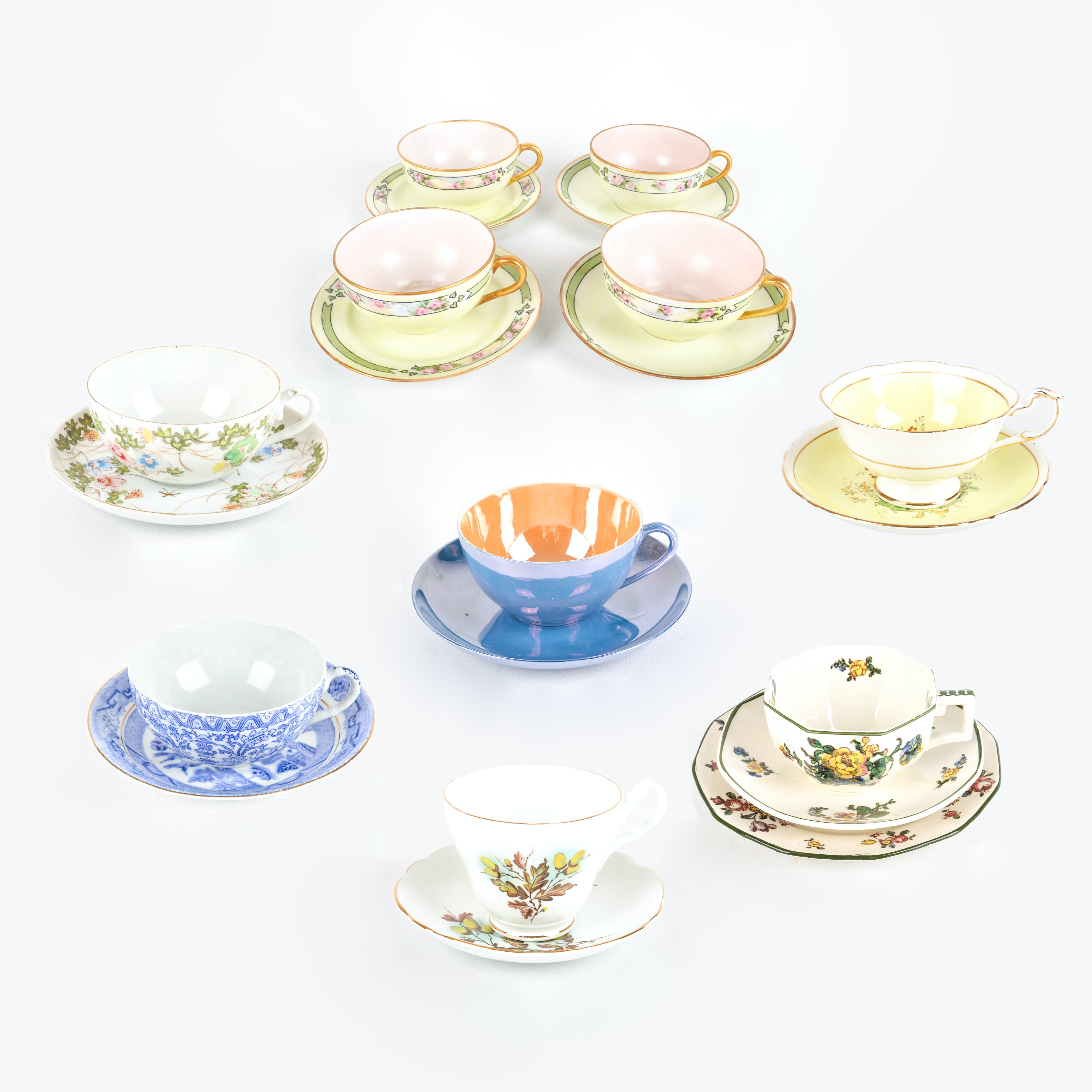 Nippon and English Hand Painted Bone China Teacups and Saucers